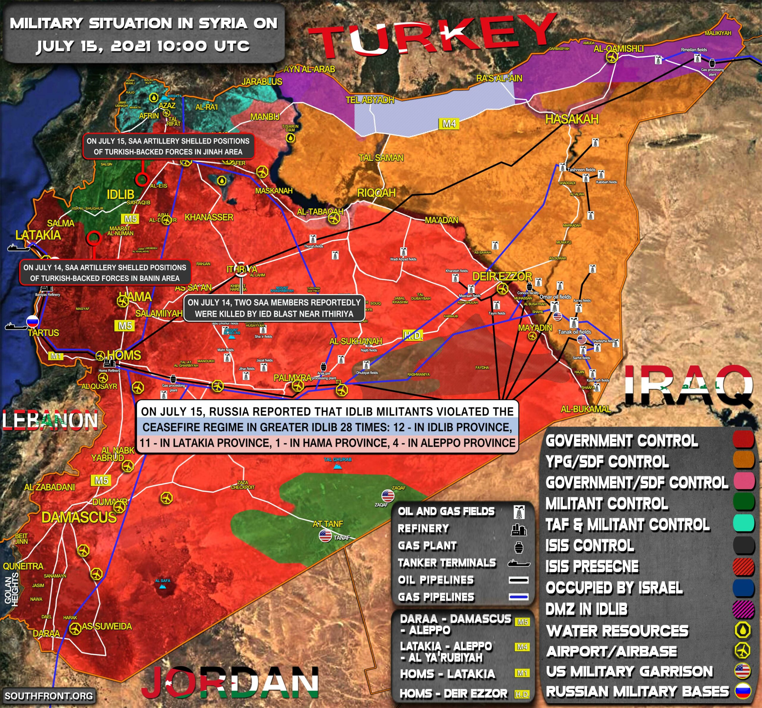Military Situation In Syria On July 15, 2021 (Map Update)