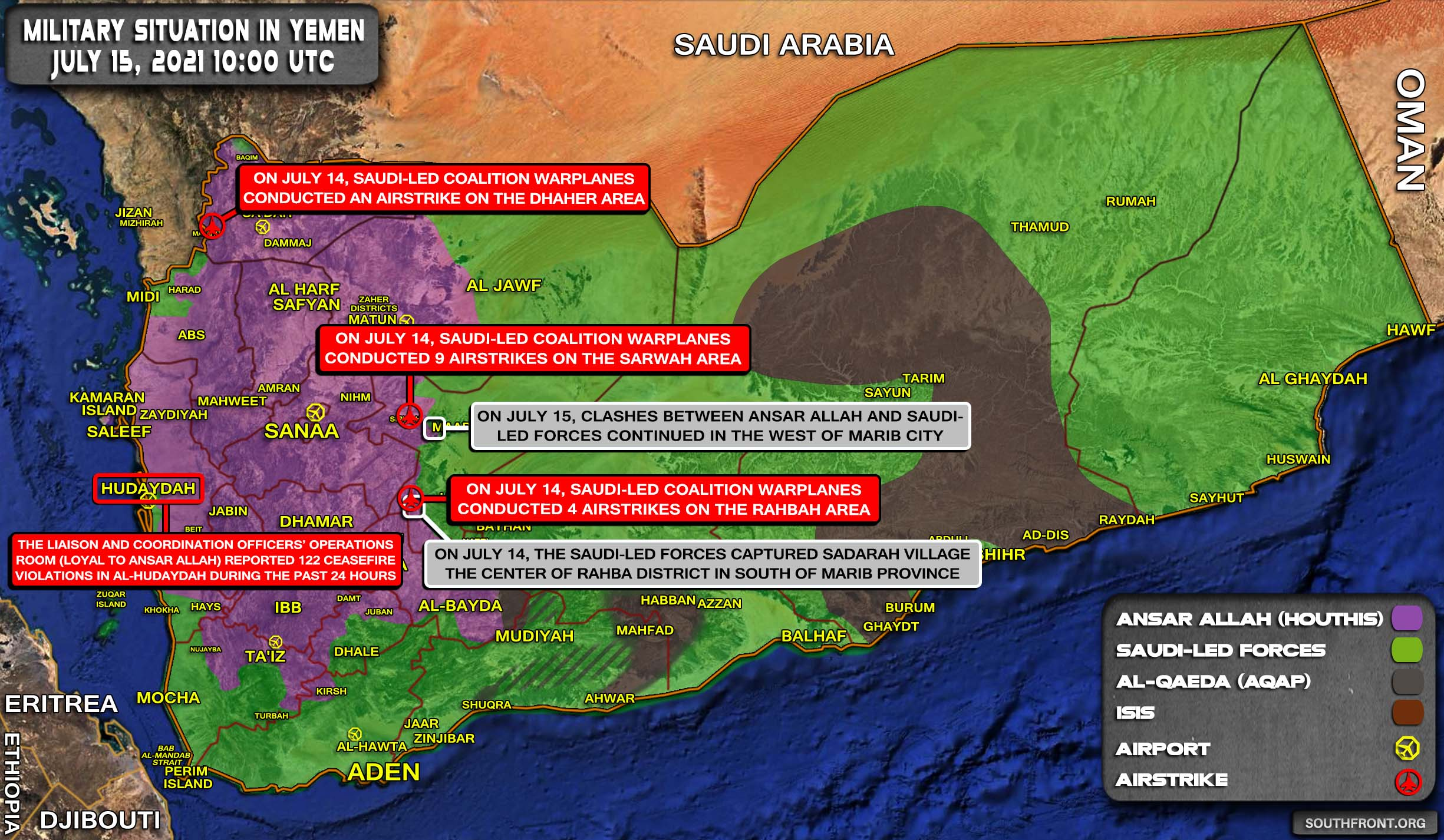 Military Situation In Yemen On July 15, 2021 (Map Update)