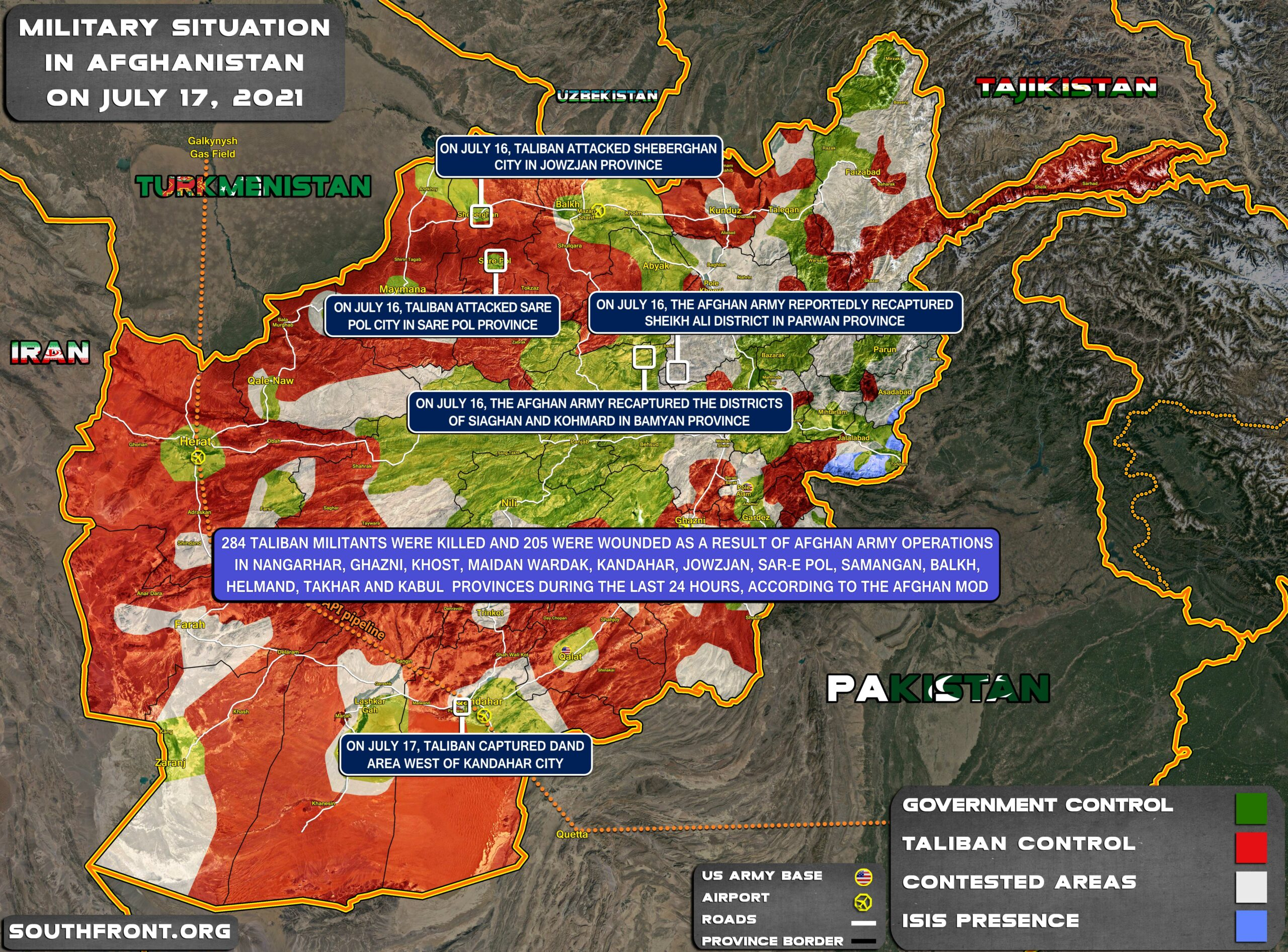 Military Situation In Afghanistan On July 17, 2021 (Map Update)