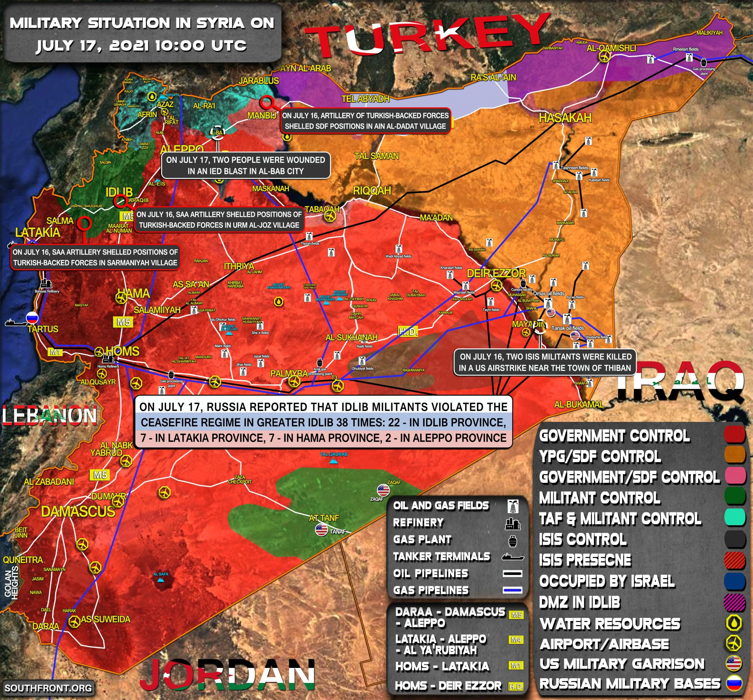 Military Situation In Syria On July 17, 2021 (Map Update)