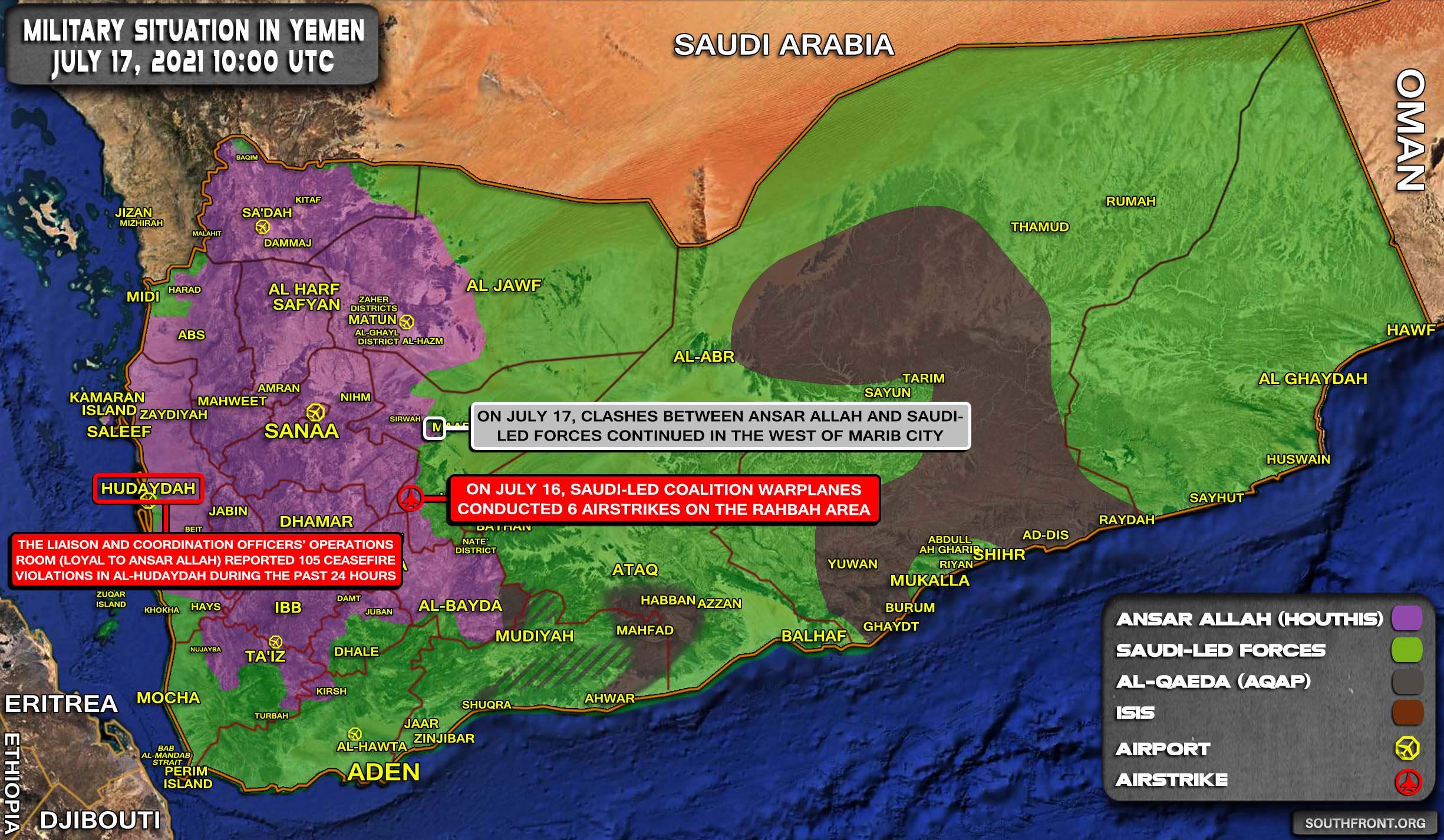 Military Situation In Yemen On July 17, 2021 (Map Update)