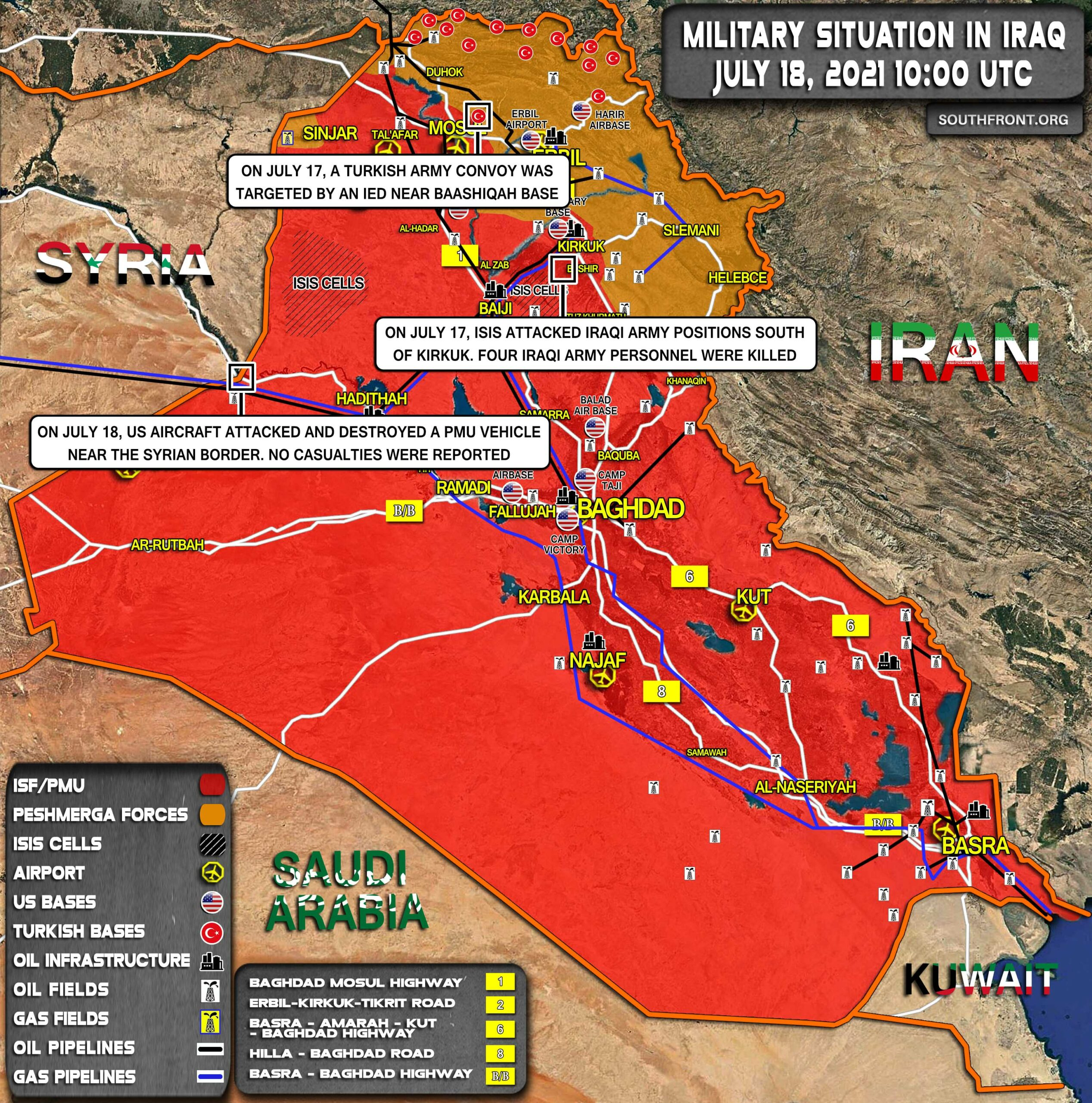 Military Situation In Iraq On July 18, 2021 (Map Update)