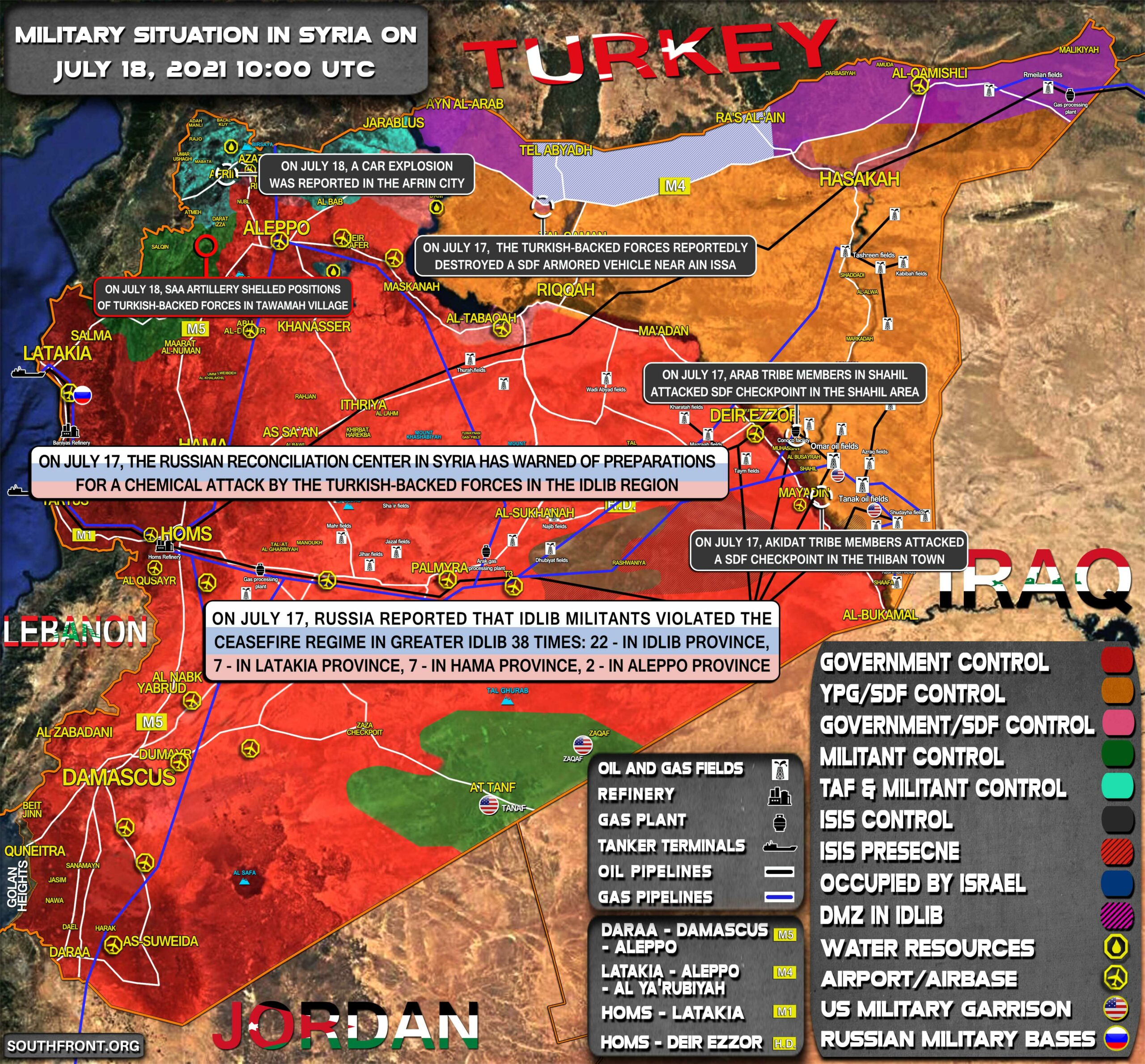 Military Situation In Syria On July 18, 2021 (Map Update)