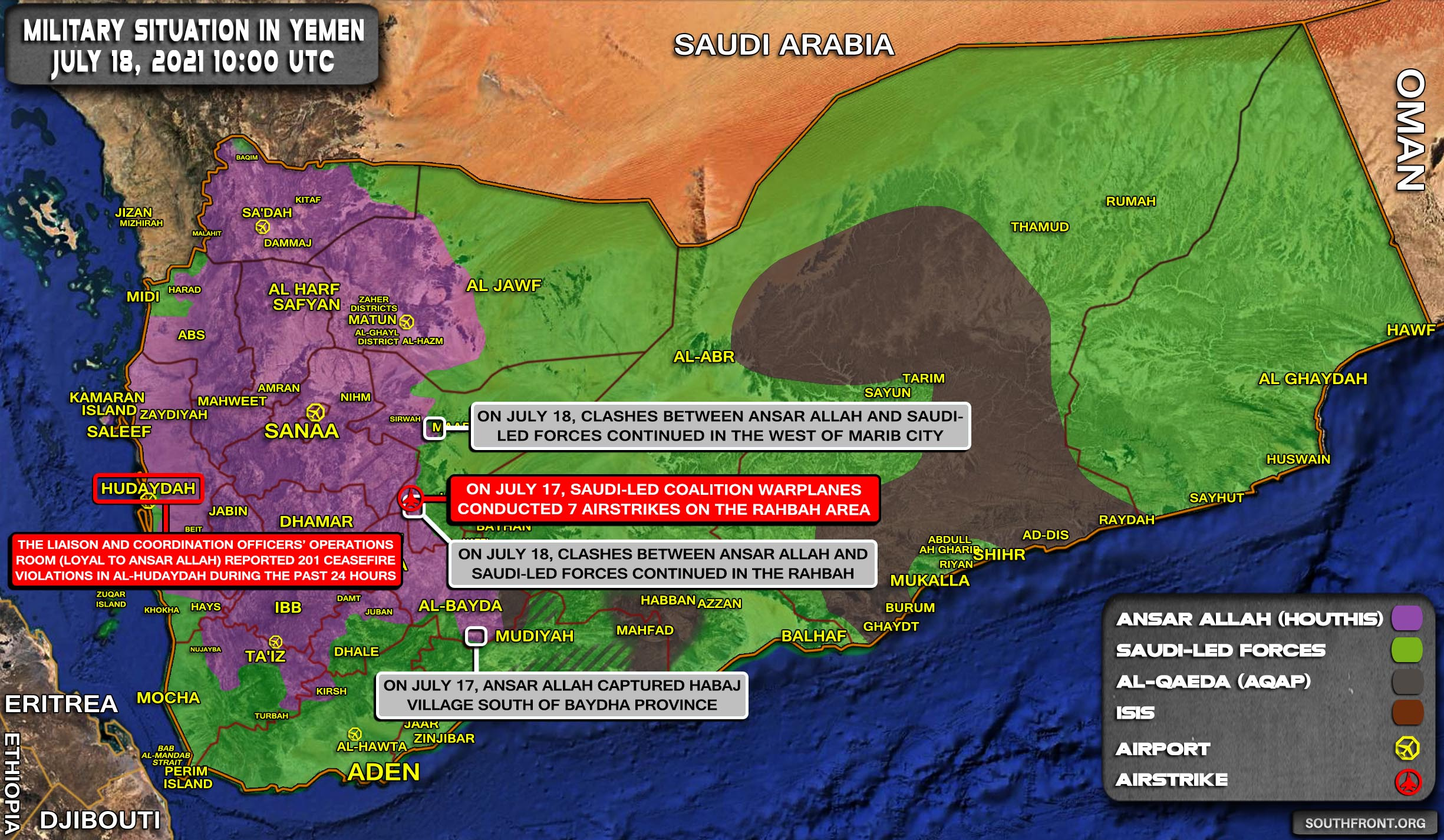 Military Situation In Yemen On July 18, 2021 (Map Update)