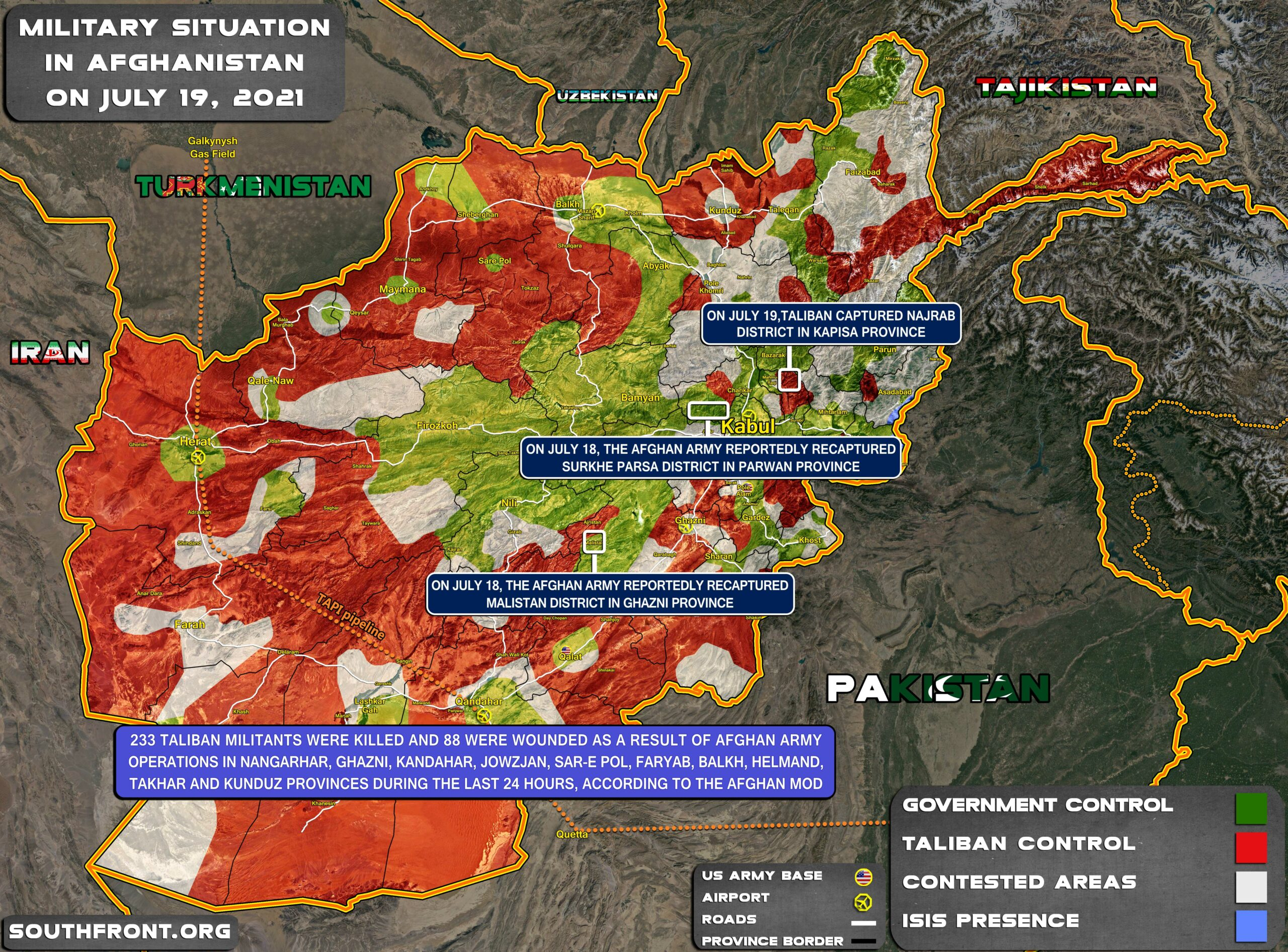 Military Situation In Afghanistan On July 19, 2021 (Map Update)