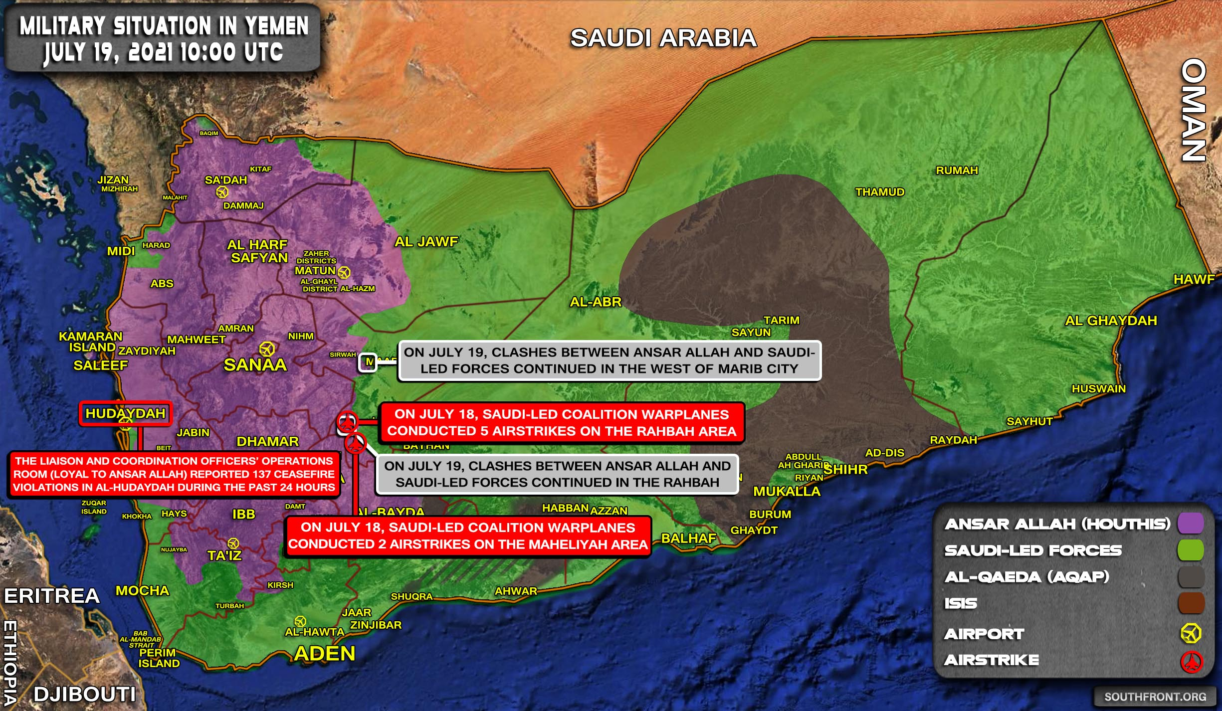 Military Situation In Yemen On July 19, 2021 (Map Update)