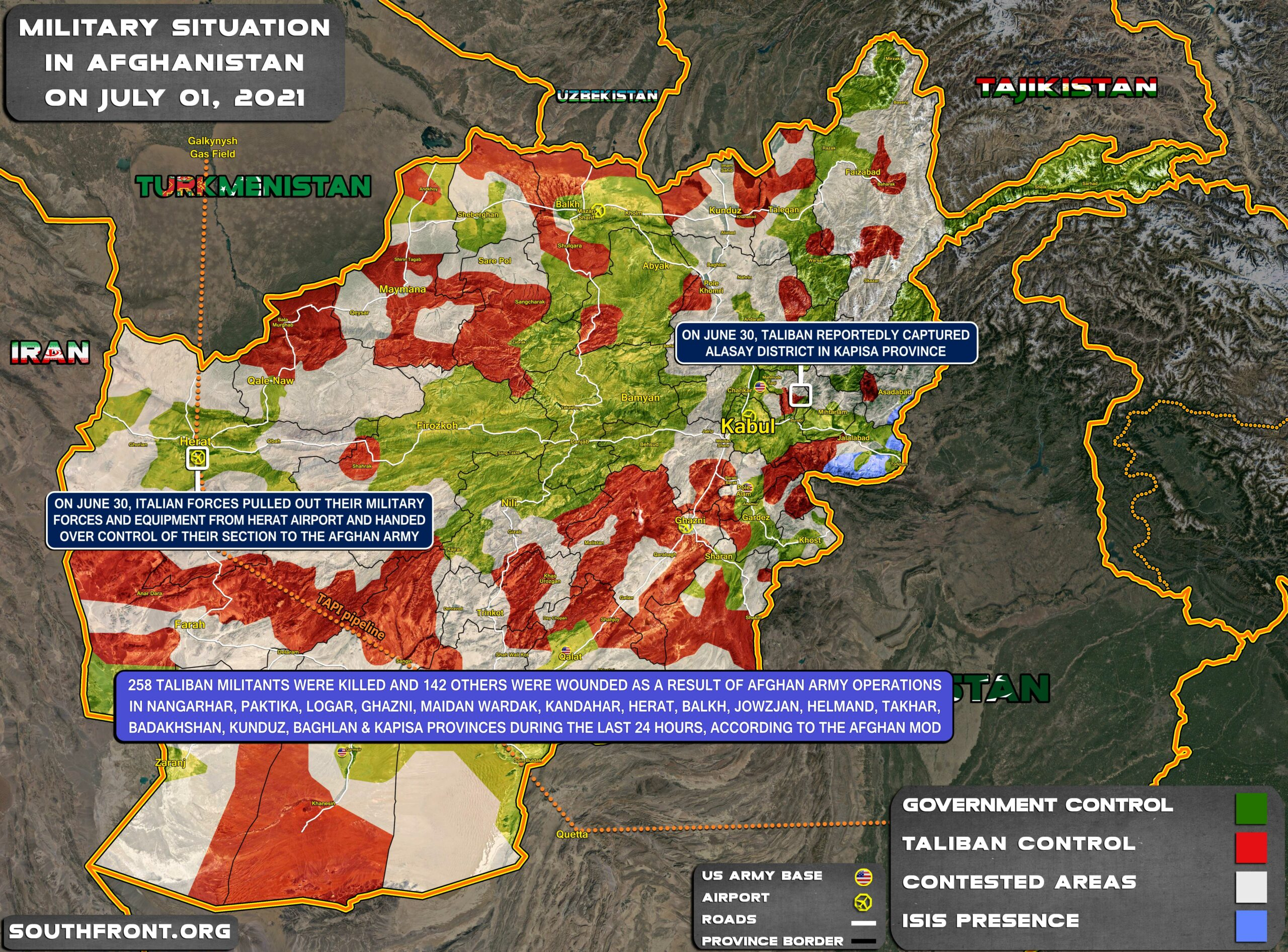 Military Situation In Afghanistan On July 1, 2021 (Map Update)
