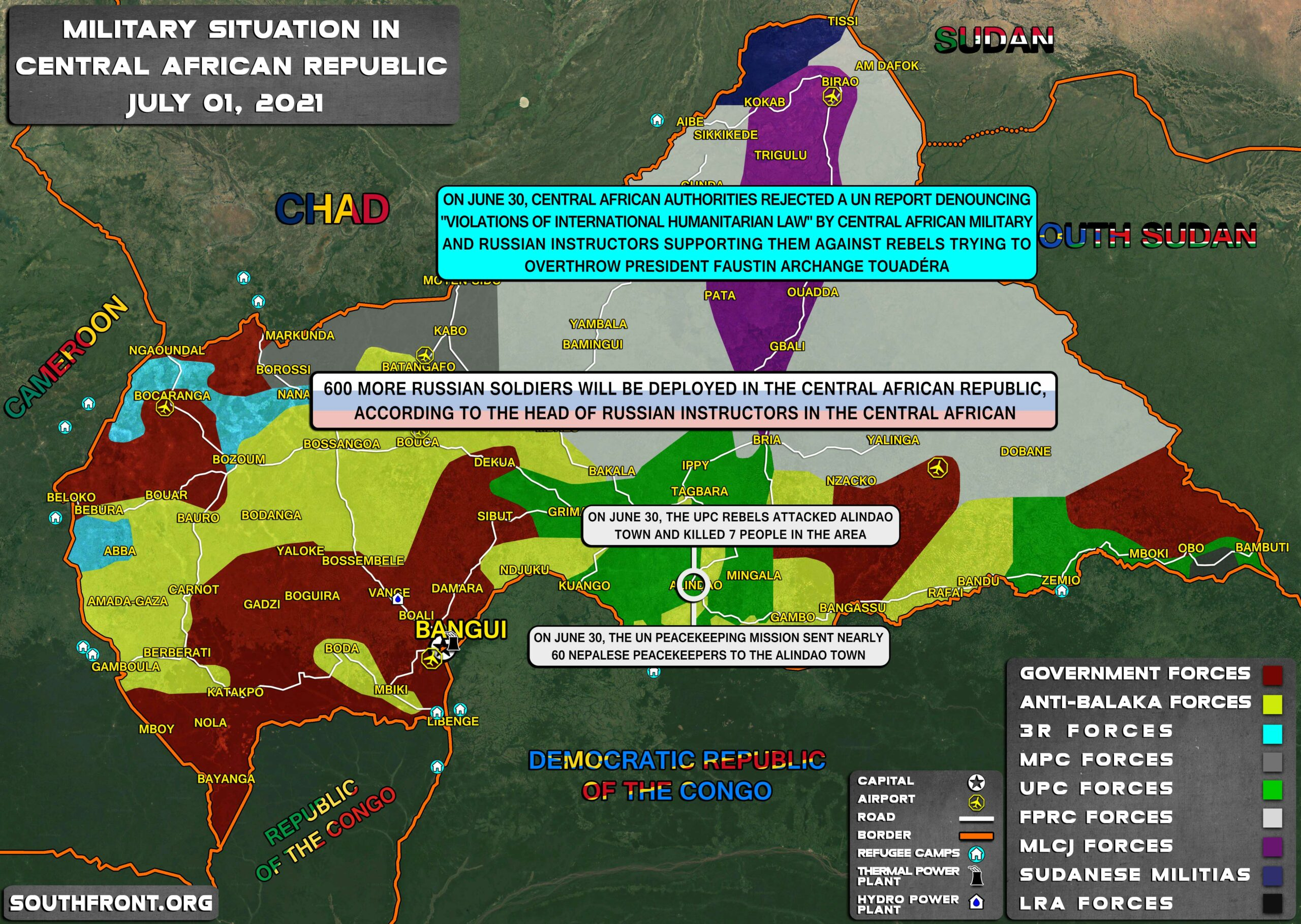 Military Situation In CAR On July 1, 2021 (Map Update)