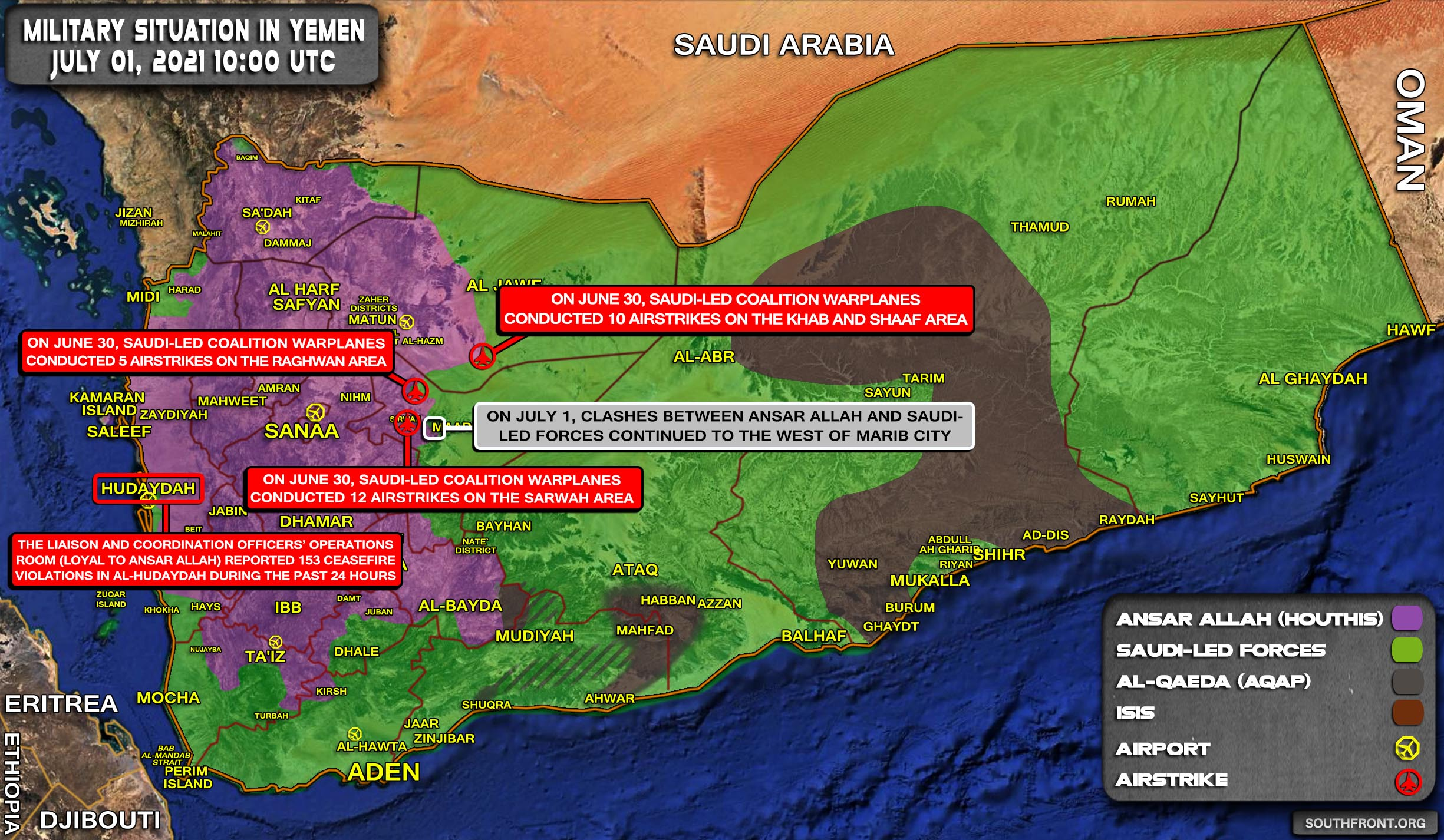Military Situation In Yemen On July 1, 2021 (Map Update)