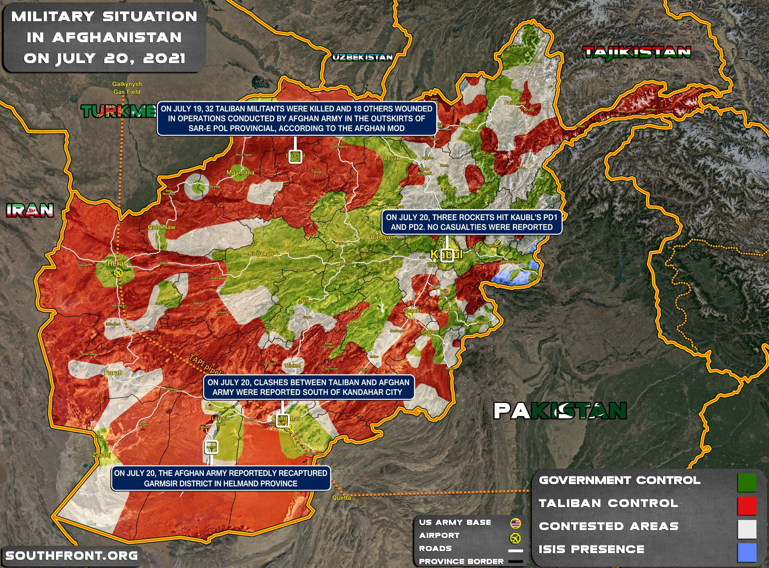 Military Situation In Afghanistan On July 20, 2021 (Map Update)