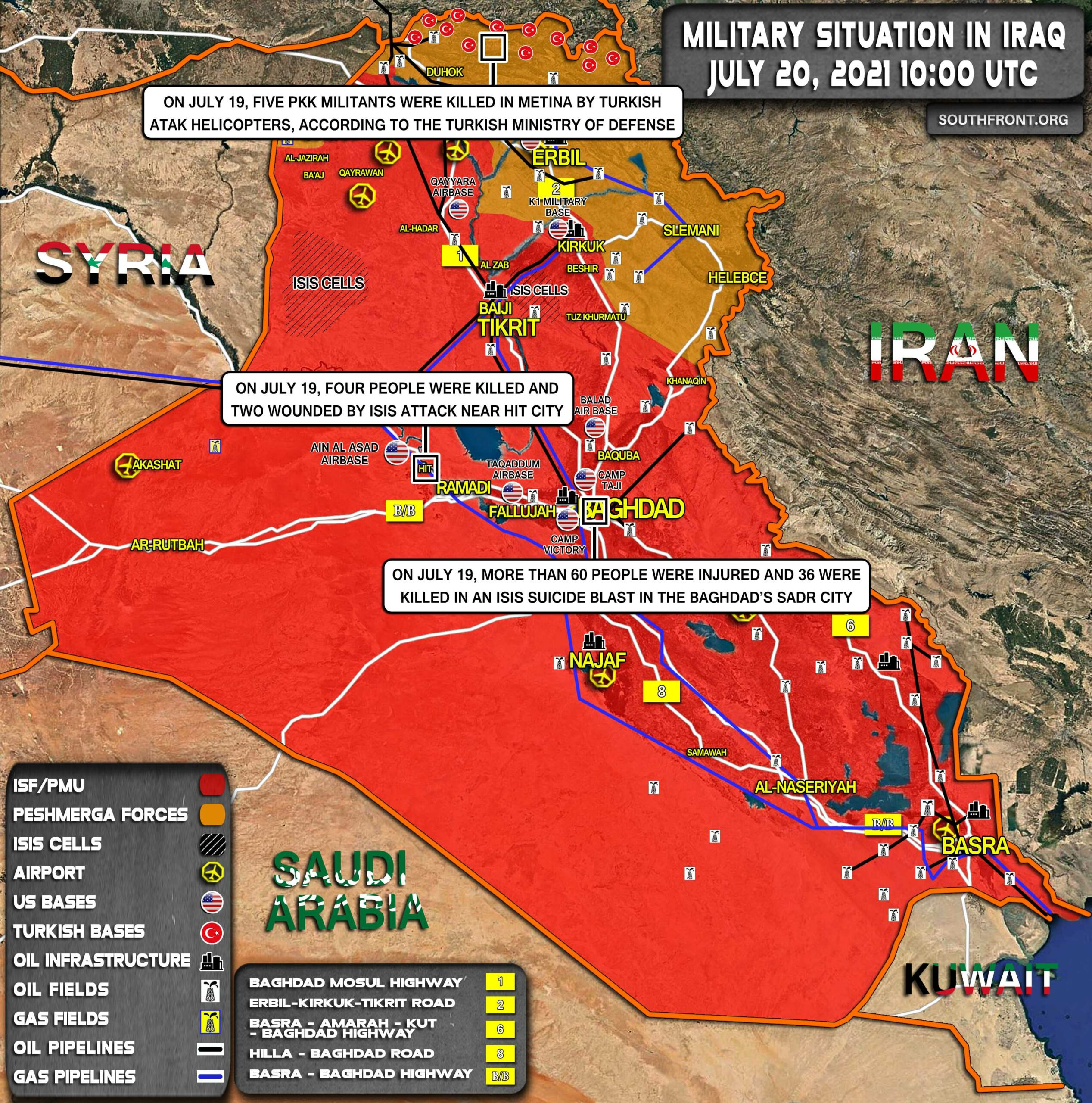 Military Situation In Iraq On July 20, 2021 (Map Update)