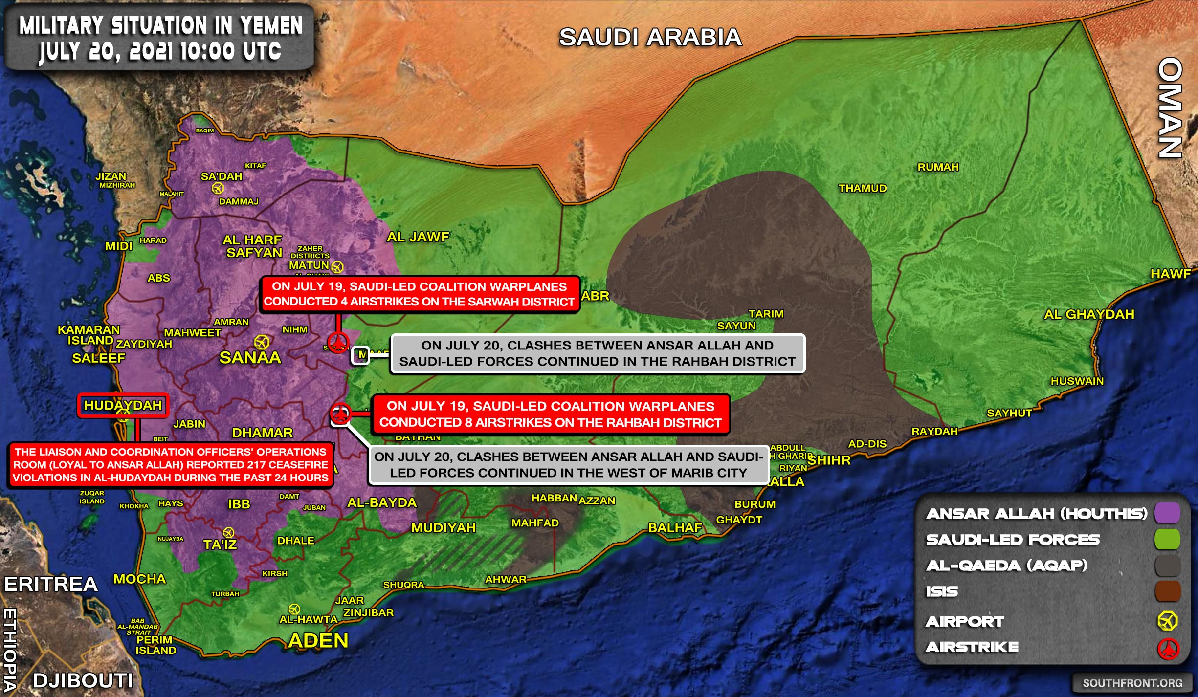 Military Situation In Yemen On July 20, 2021 (Map Update)