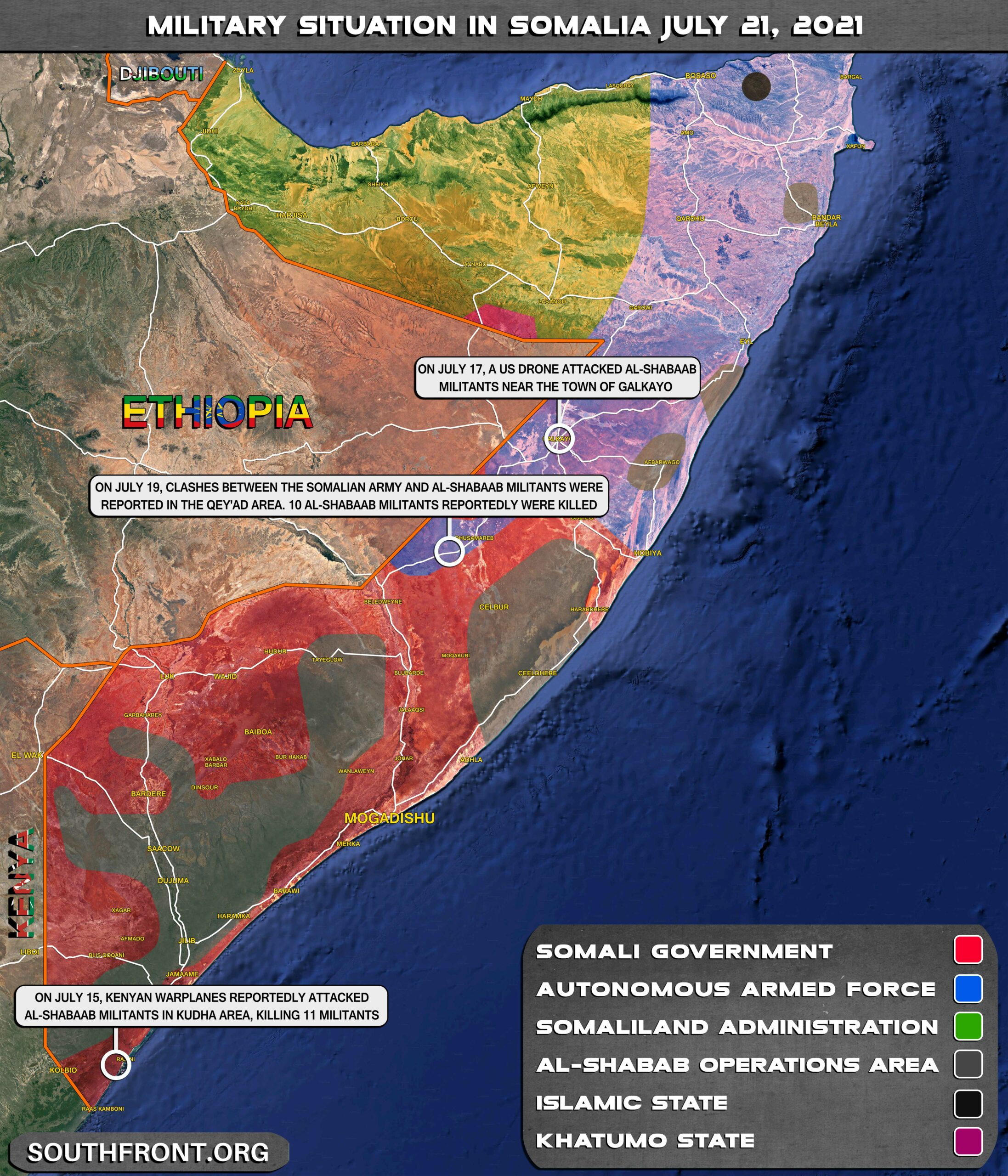 Military Situation In Somalia On July 21, 2021 (Map Update)