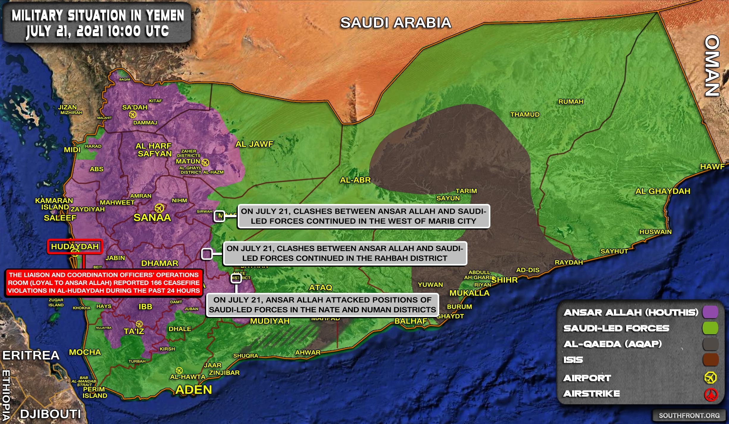 Military Situation In Yemen On July 21, 2021 (Map Update)