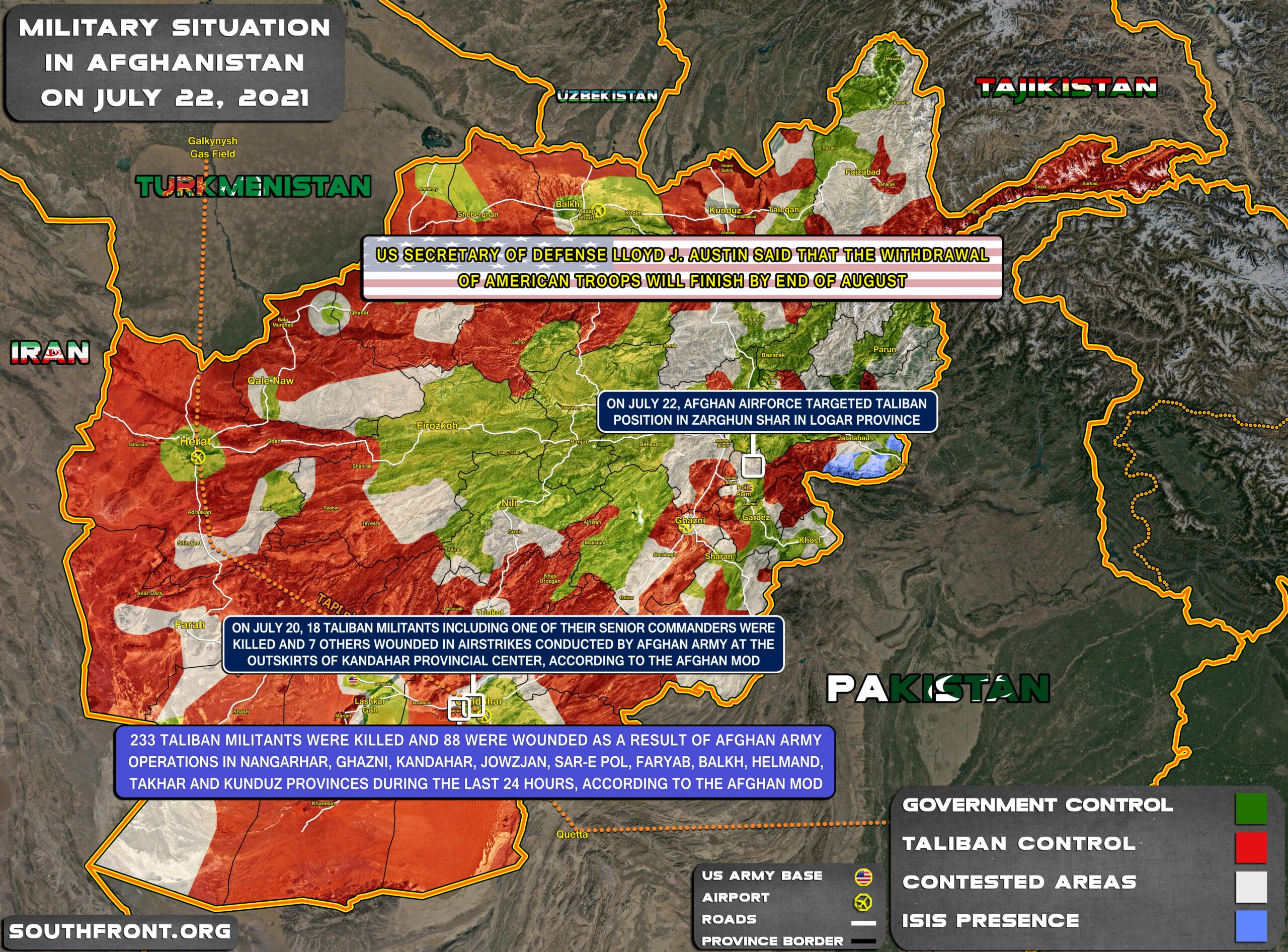 Military Situation In Afghanistan On July 22, 2021 (Map Update)