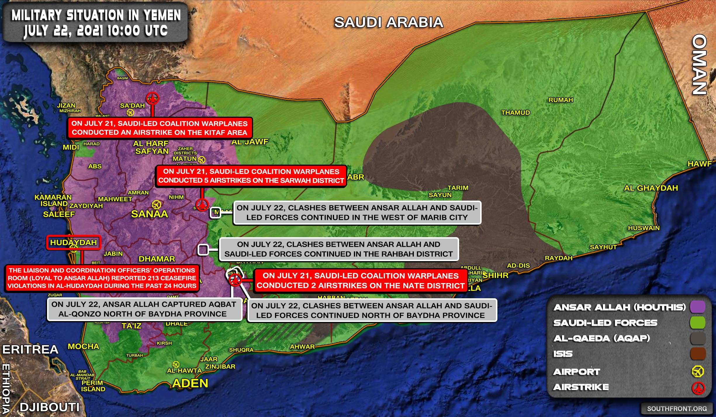 Military Situation In Yemen On July 22, 2021 (Map Update)