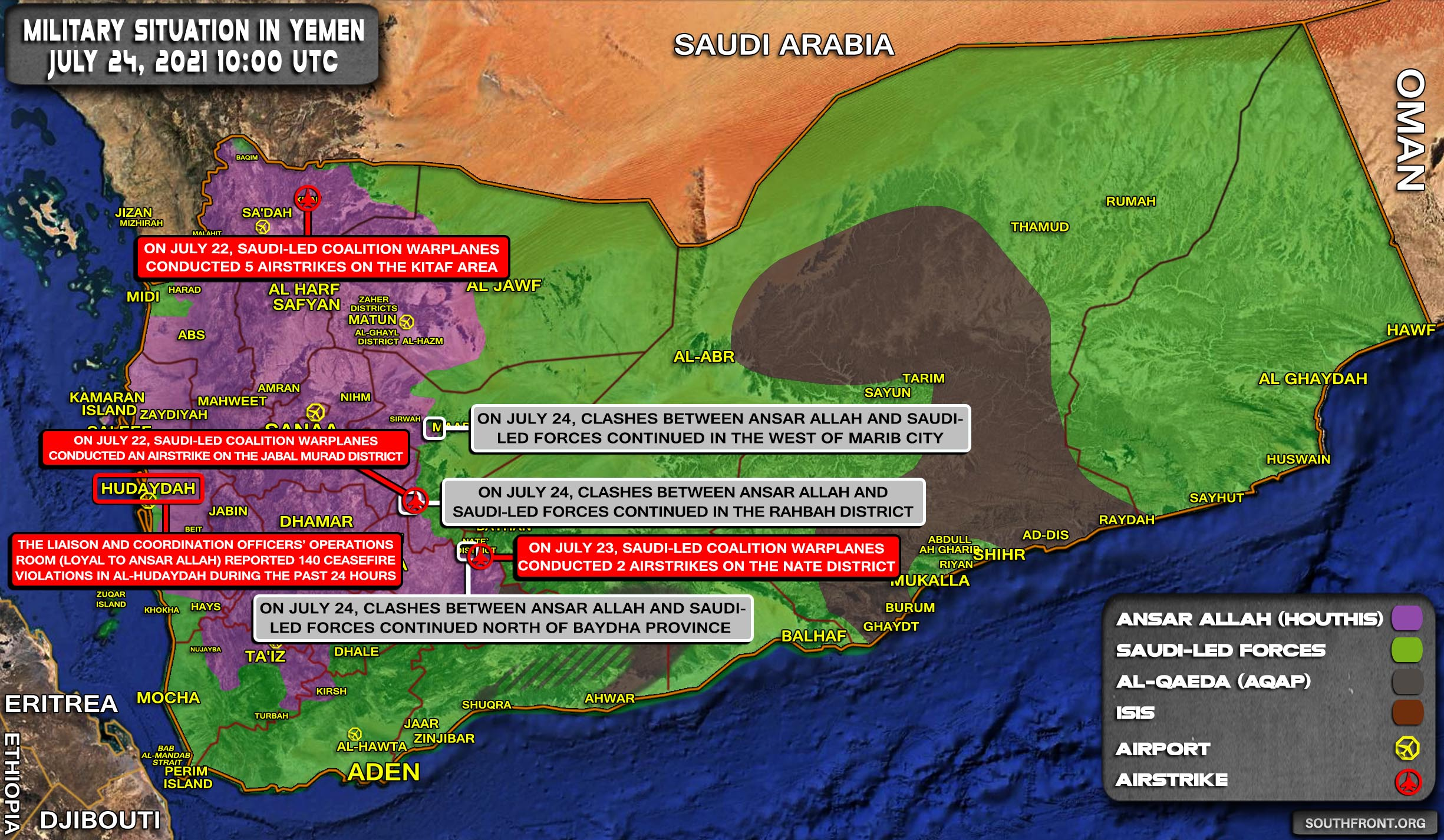 Military Situation In Yemen On July 24, 2021 (Map Update)