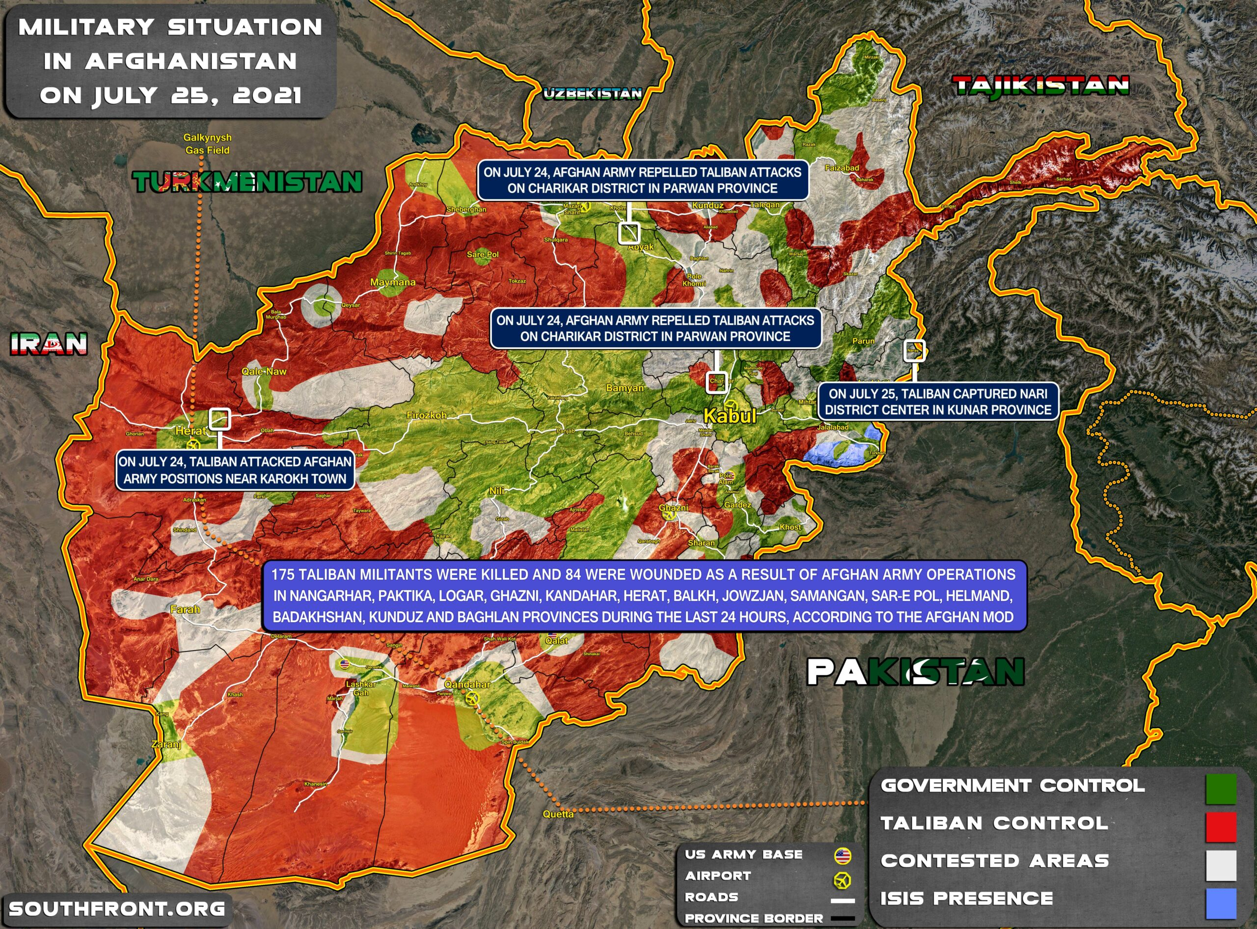 Military Situation In Afghanistan On July 25, 2021 (Map Update)