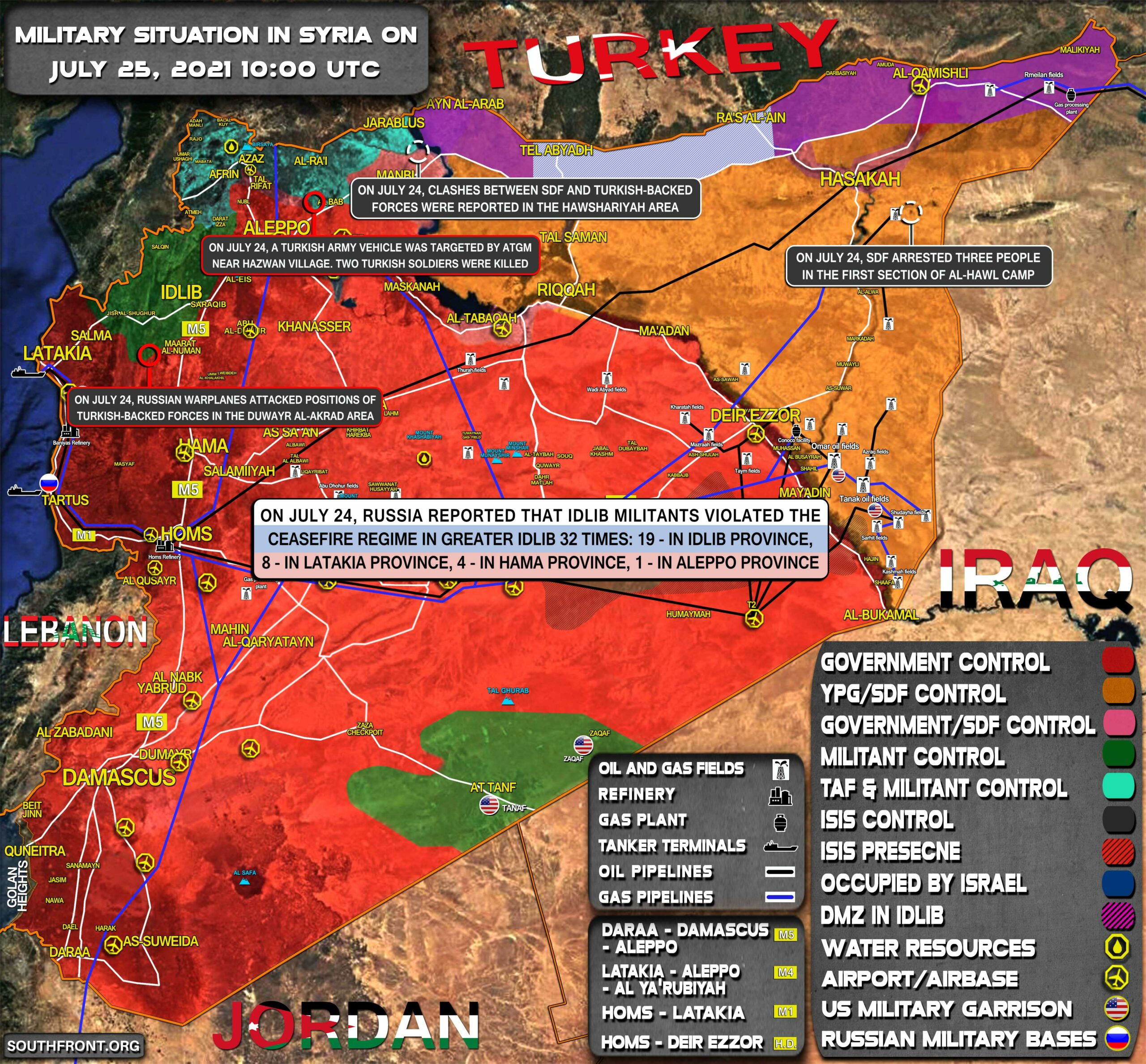 Military Situation In Syria On July 25, 2021 (Map Update)
