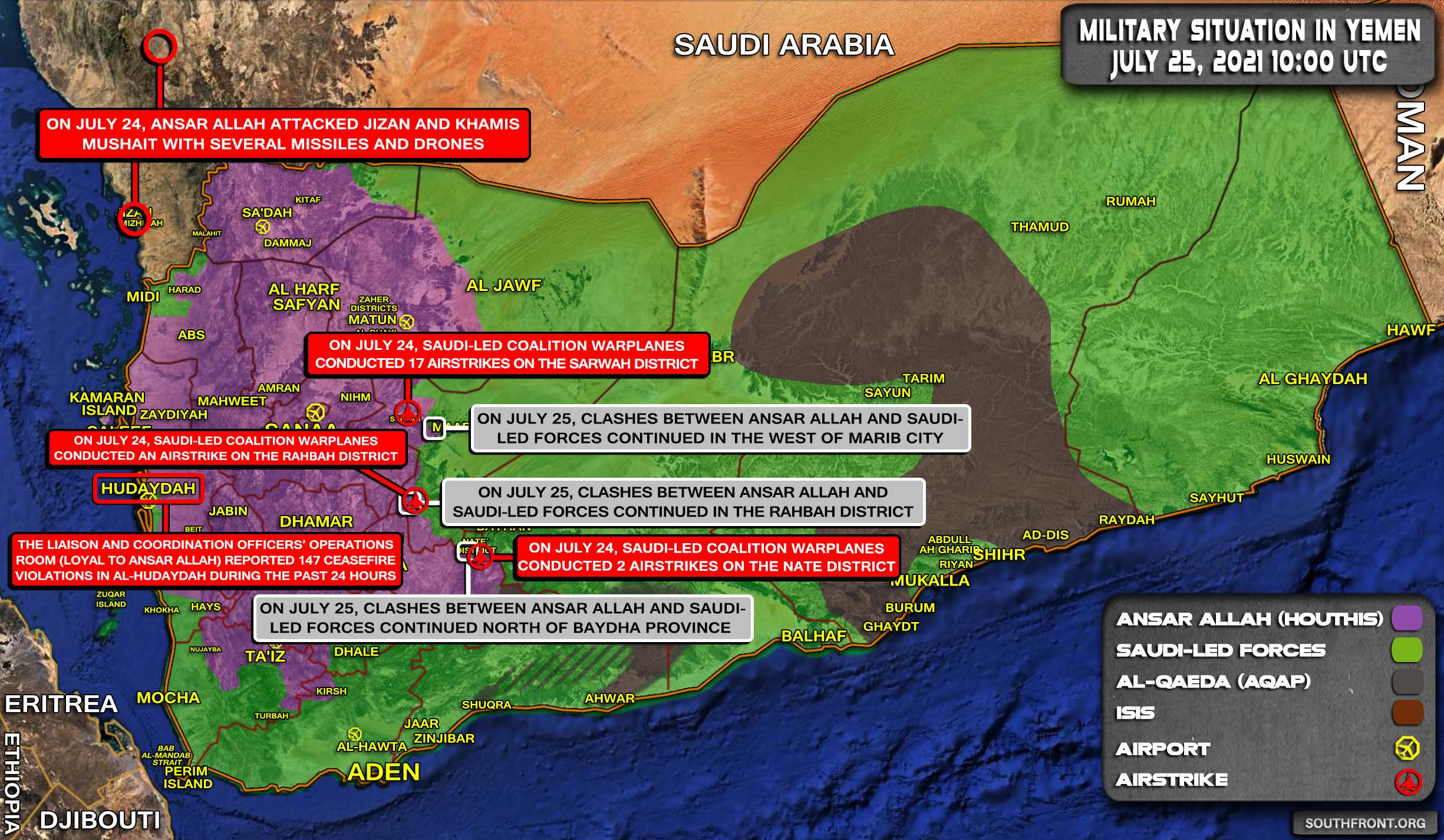 Military Situation In Yemen On July 25, 2021 (Map Update)