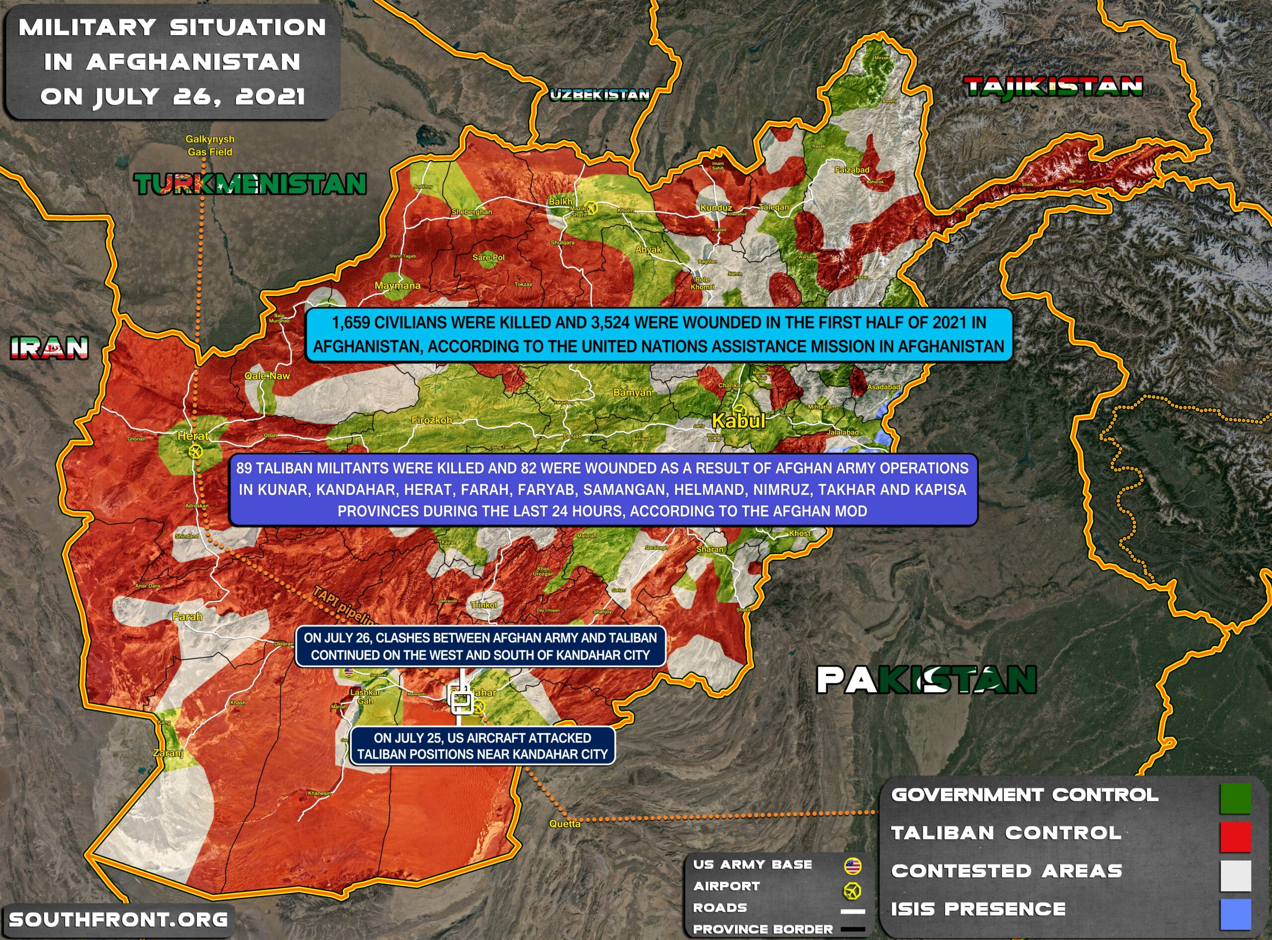 Military Situation In Afghanistan On July 26, 2021 (Map Update)