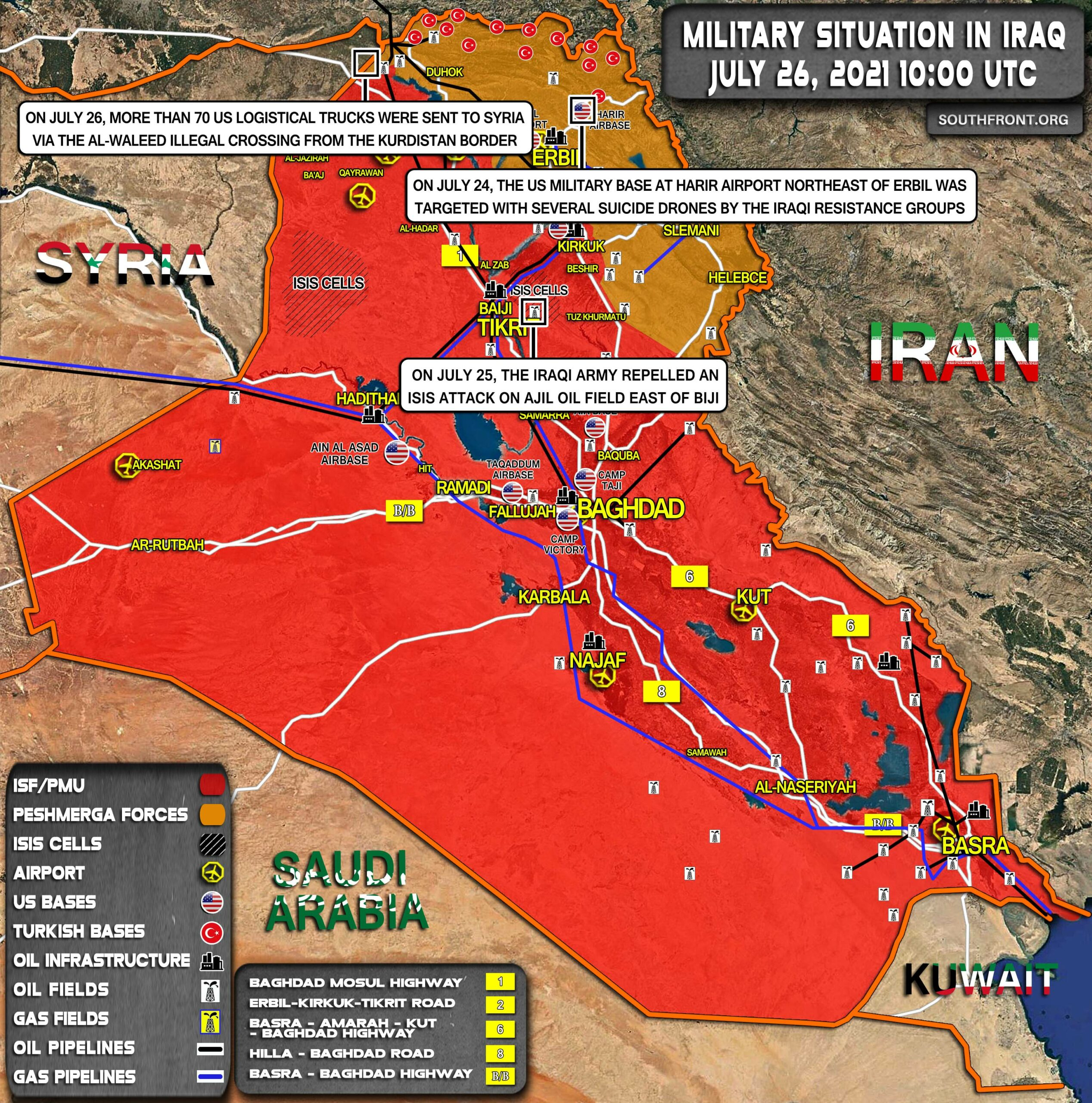 Military Situation In Iraq On July 26, 2021 (Map Update)
