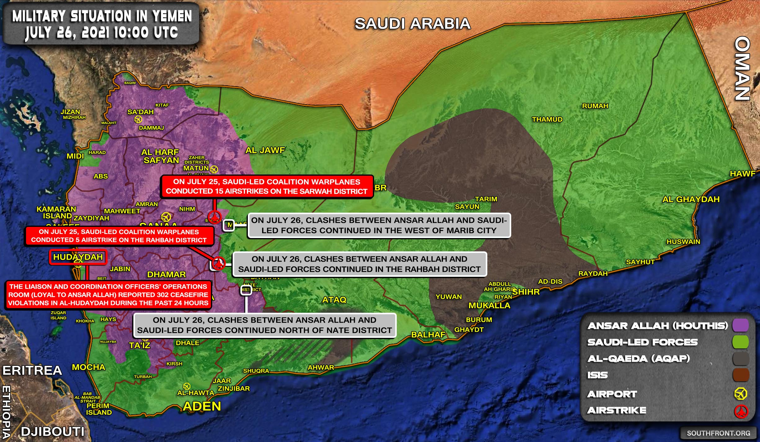 Military Situation In Yemen On July 26, 2021 (Map Update)