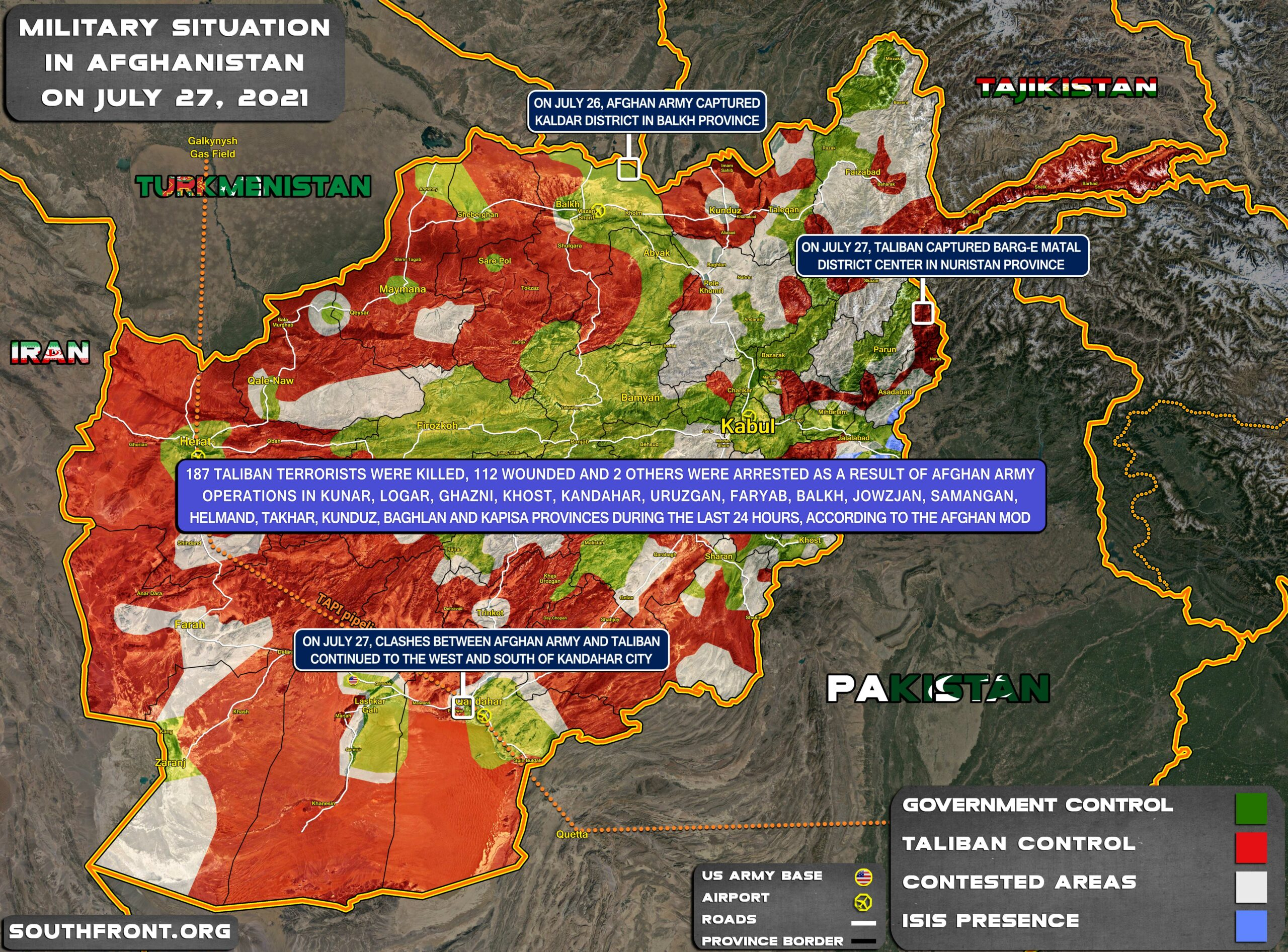 Military Situation In Afghanistan On July 27, 2021 (Map Update)