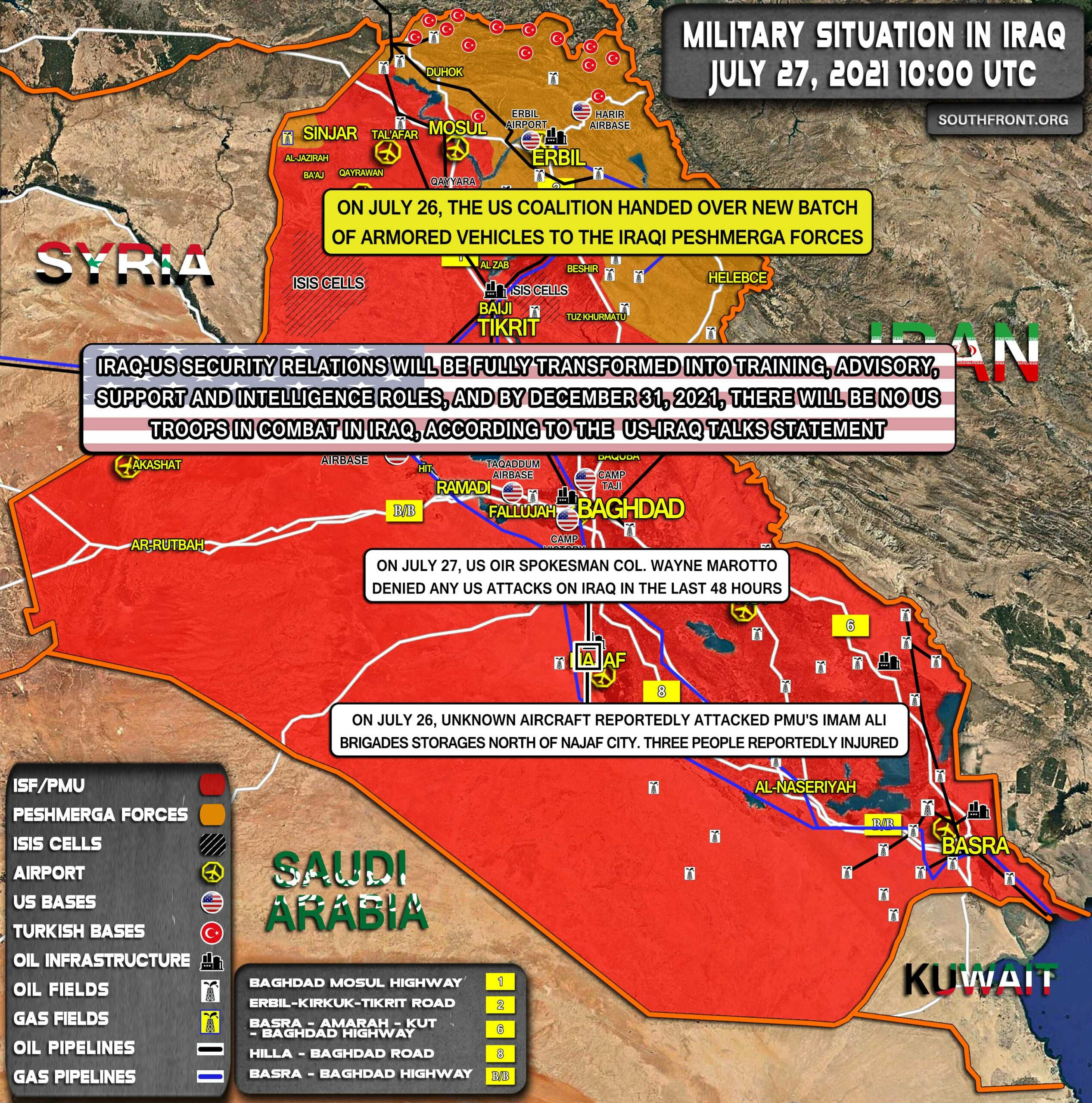 Military Situation In Iraq On July 27, 2021 (Map Update)