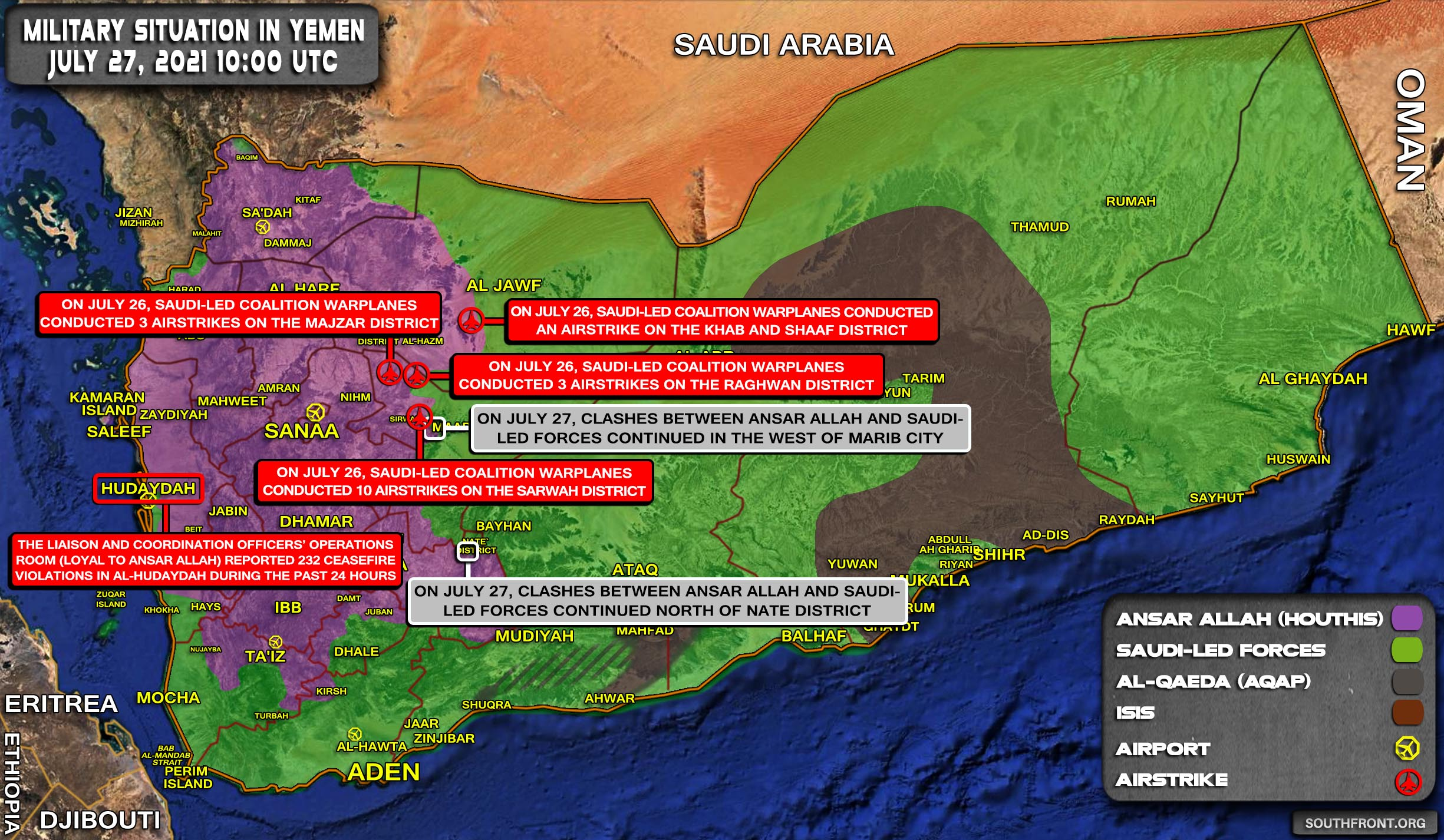 Military Situation In Yemen On July 27, 2021 (Map Update)