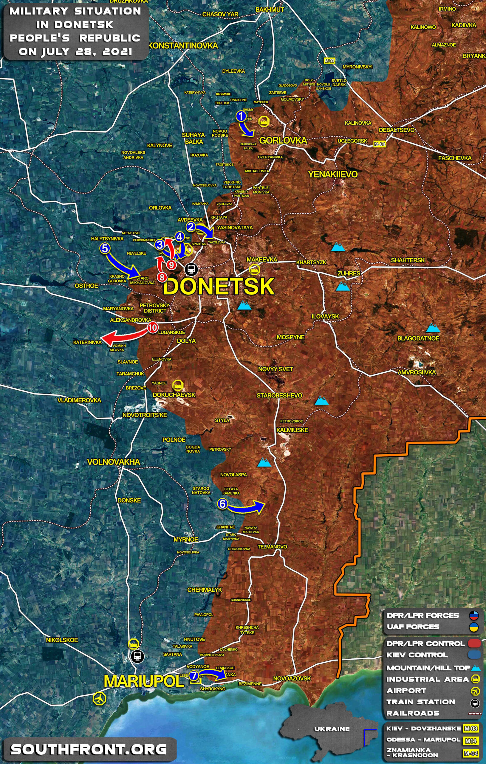Military Situation In Donetsk People's Republic On July 28, 2021 (Map Update)