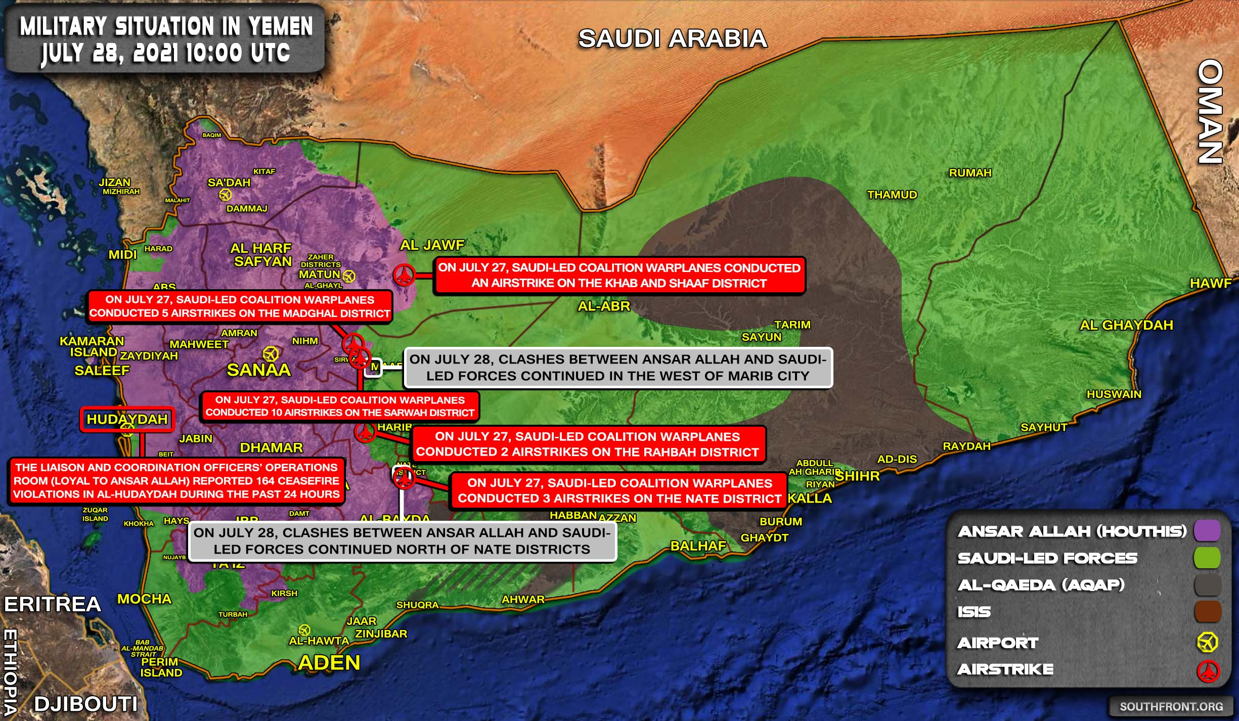 Military Situation In Yemen On July 28, 2021 (Map Update)