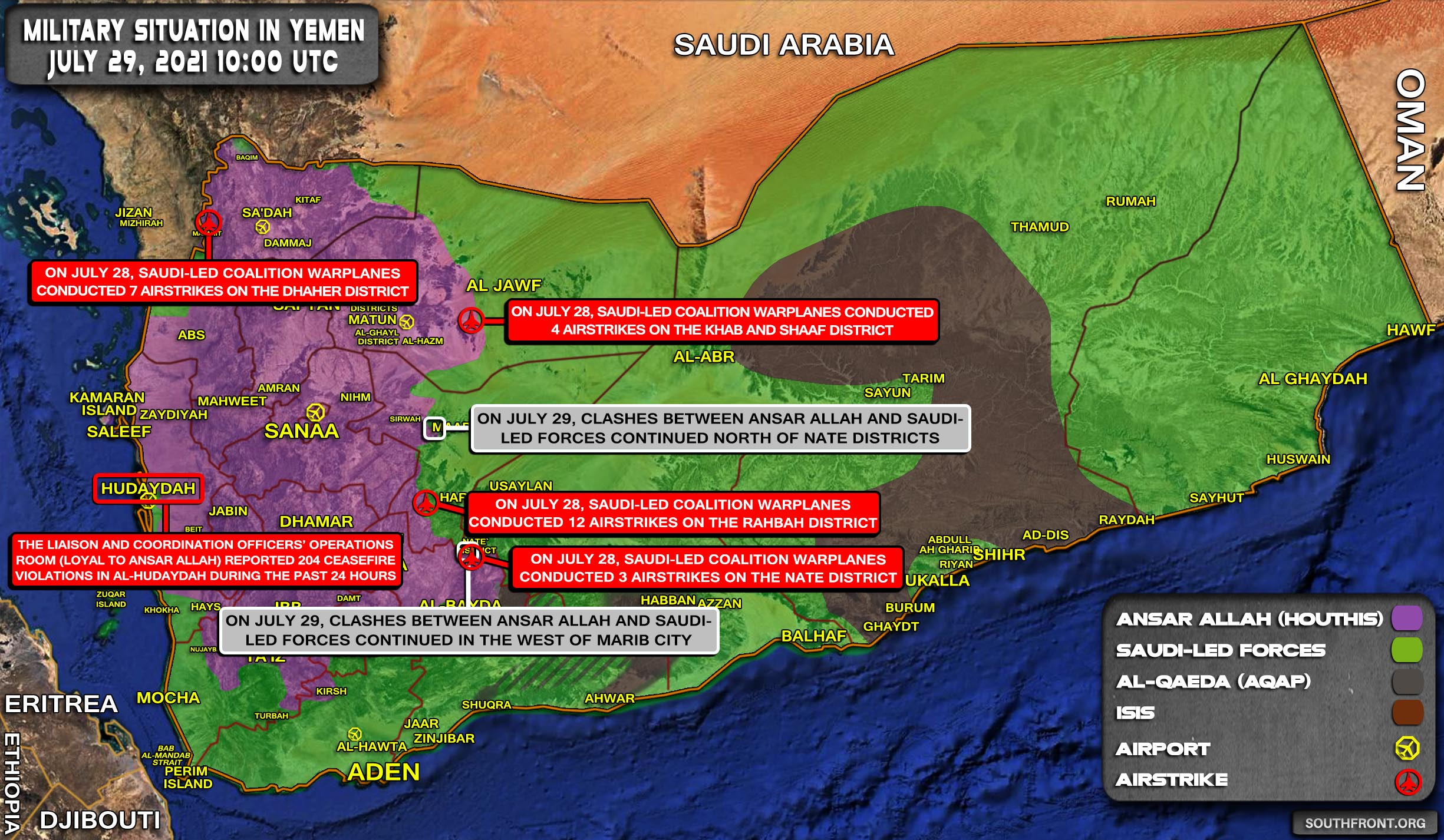 Military Situation In Yemen On July 29, 2021 (Map Update)