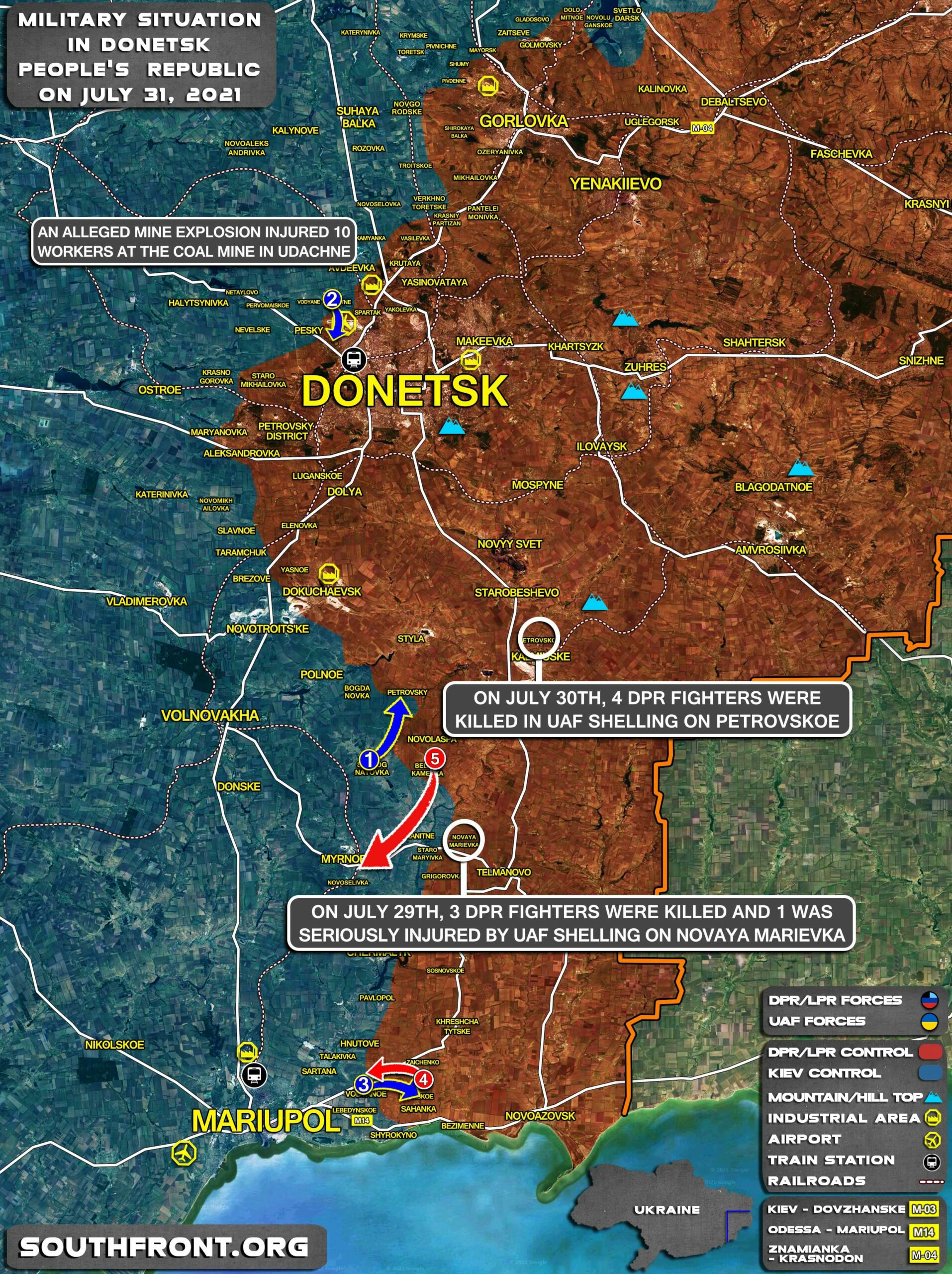 Military Situation In Donetsk People's Republic On July 31, 2021 (Map Update)