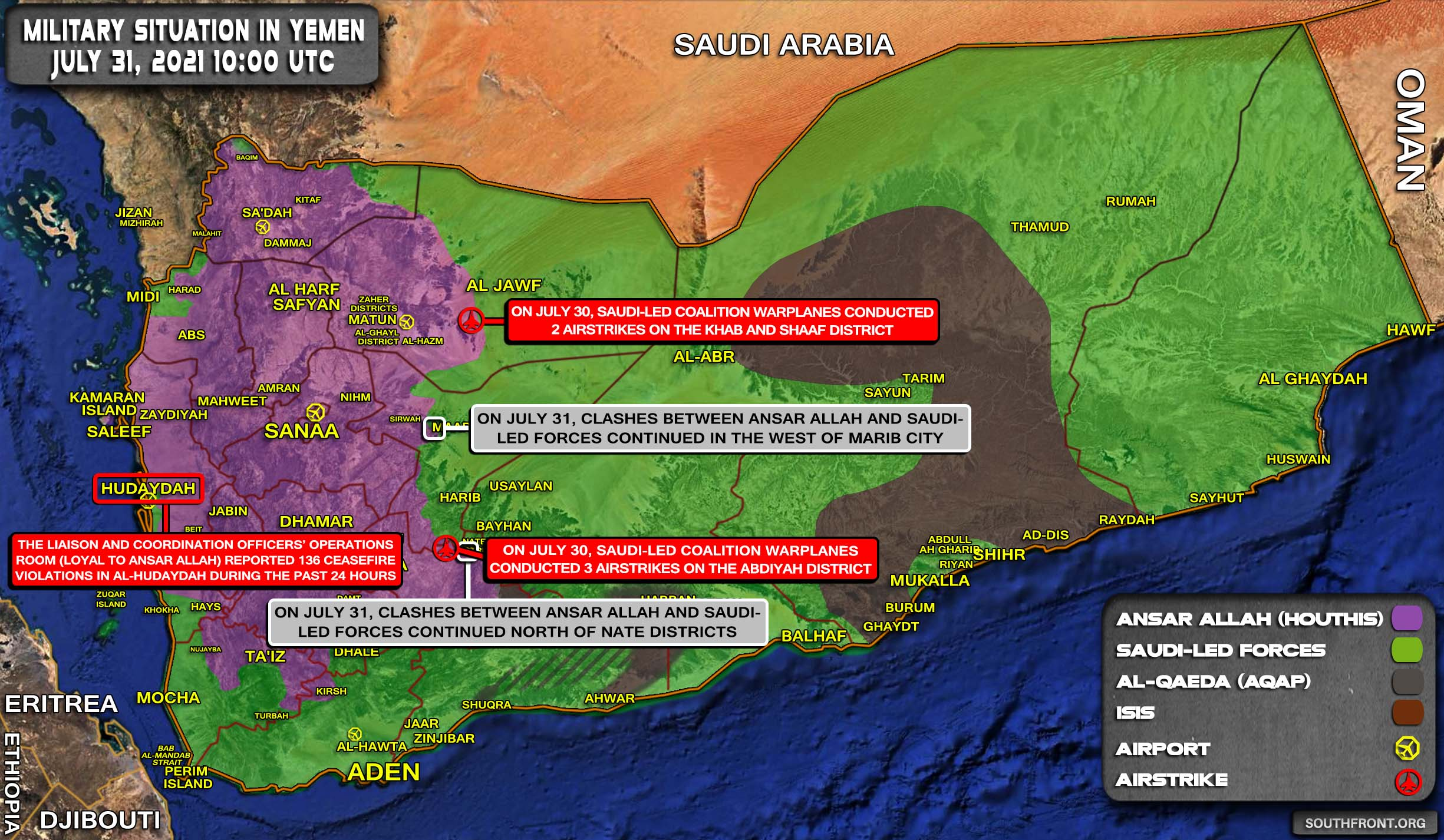 Military Situation In Yemen On July 31, 2021 (Map Update)