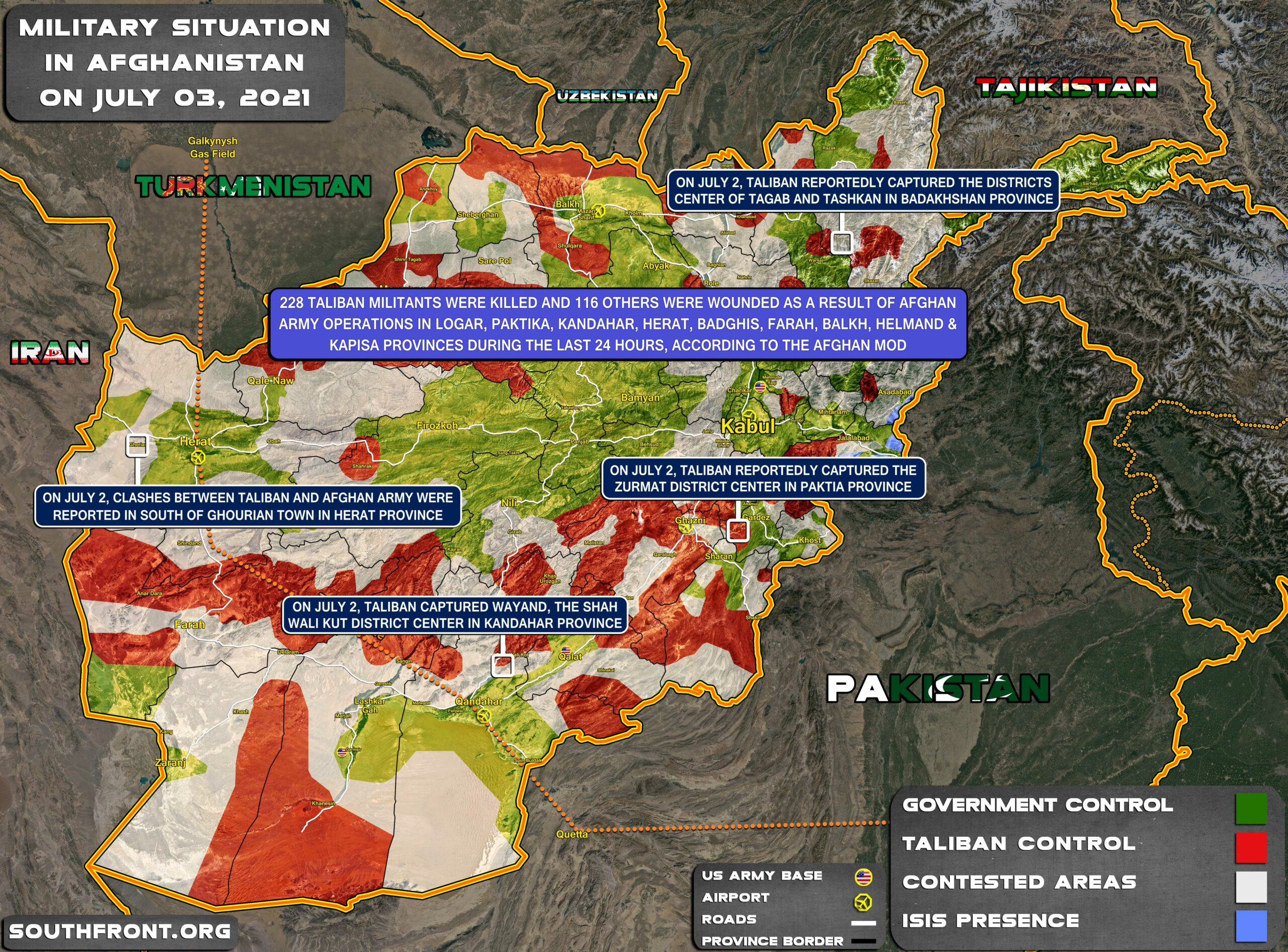 Military Situation In Afghanistan On July 3, 2021 (Map Update)