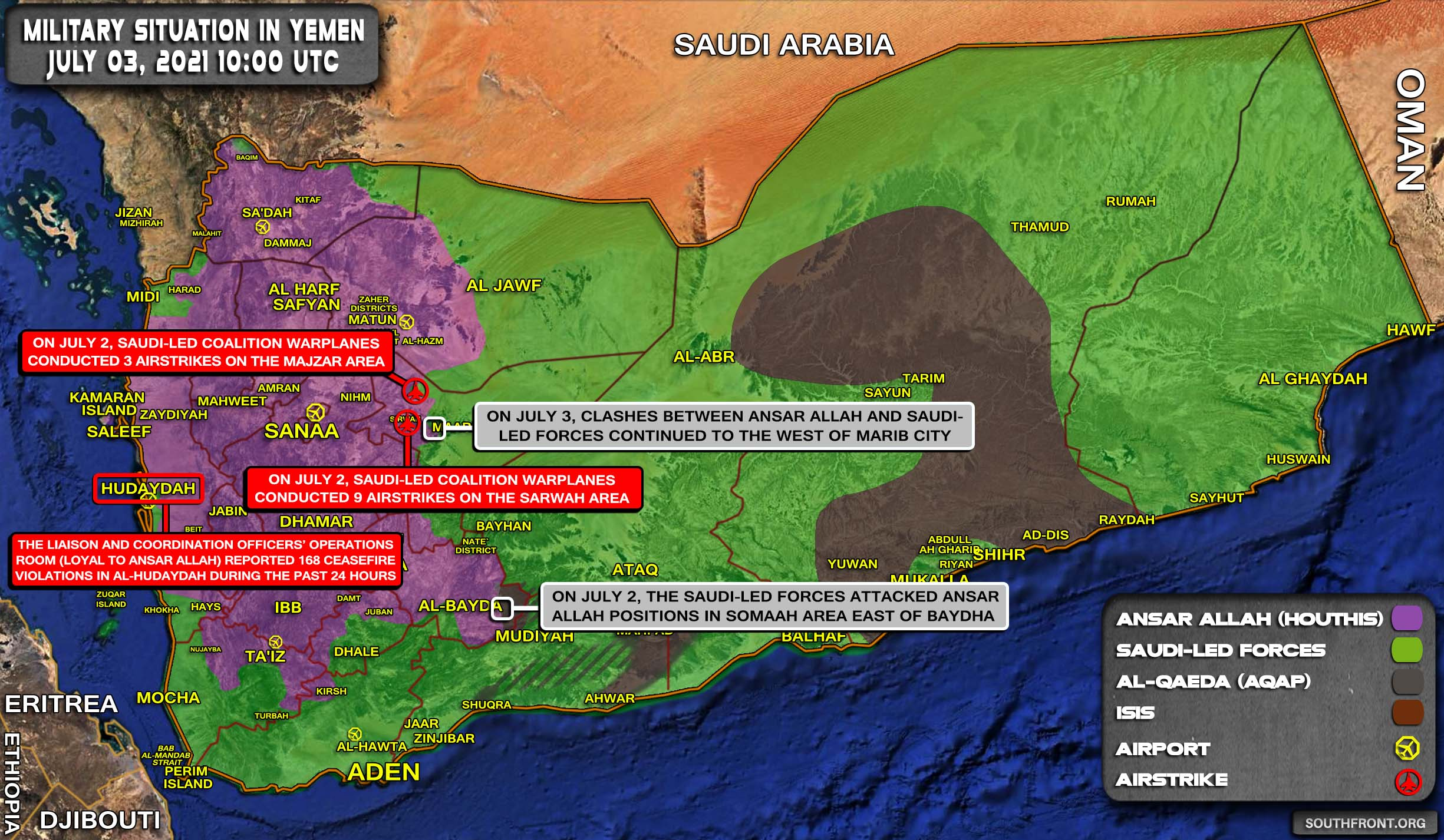 Military Situation In Yemen On July 3, 2021 (Map Update)