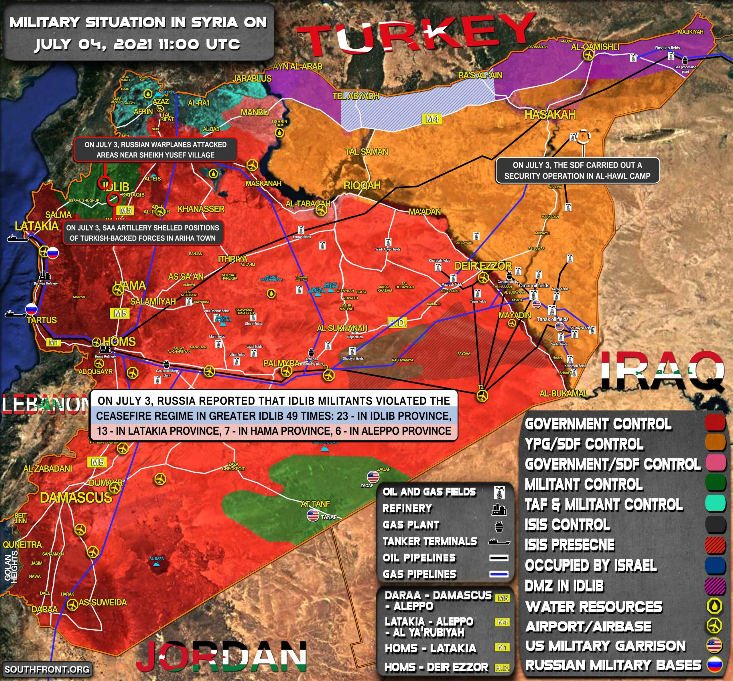 Military Situation In Syria On July 4, 2021 (Map Update)
