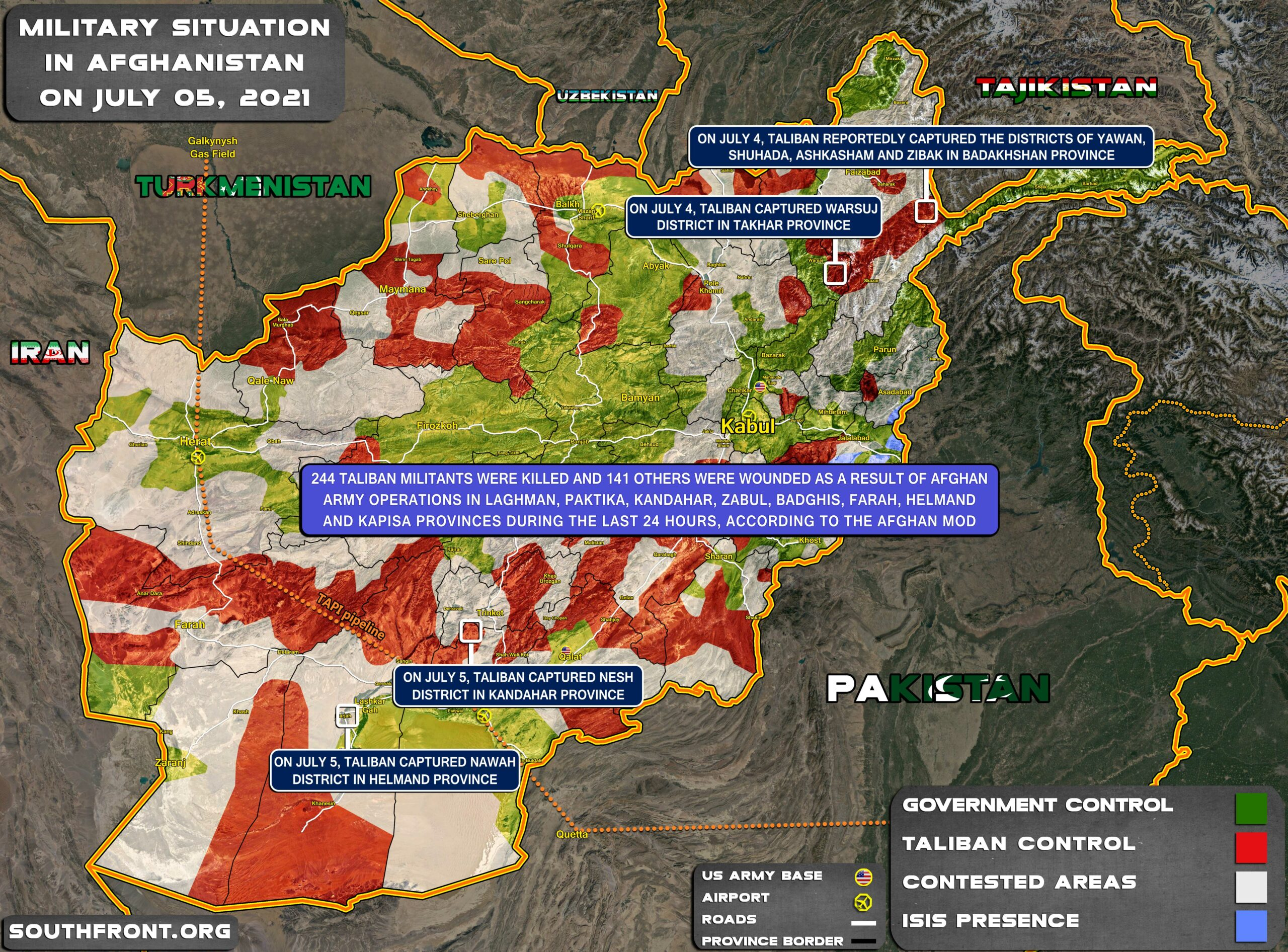 Military Situation In Afghanistan On July 5, 2021 (Map Update)