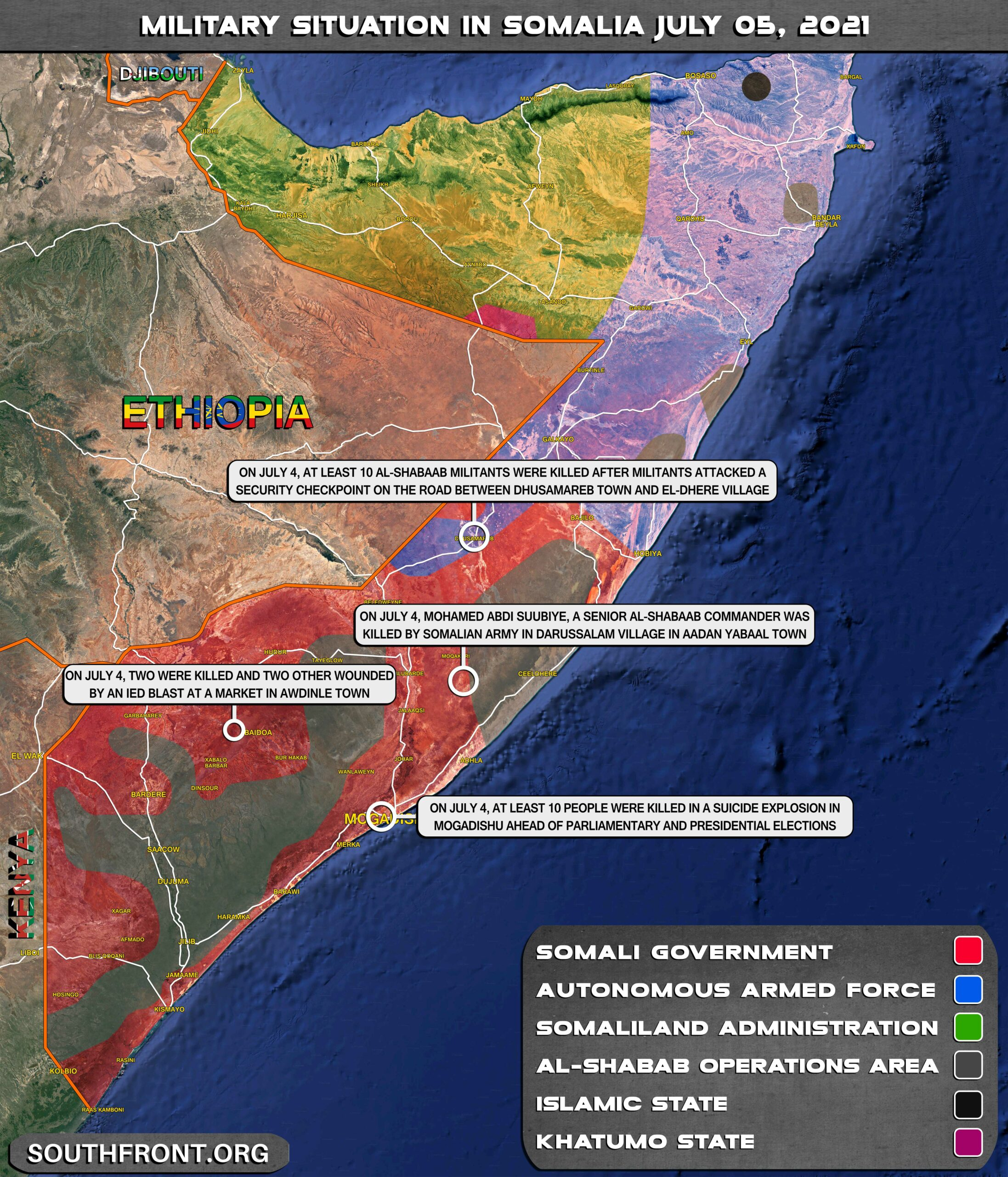 Military Situation In Somalia On July 5, 2021 (Map Update)