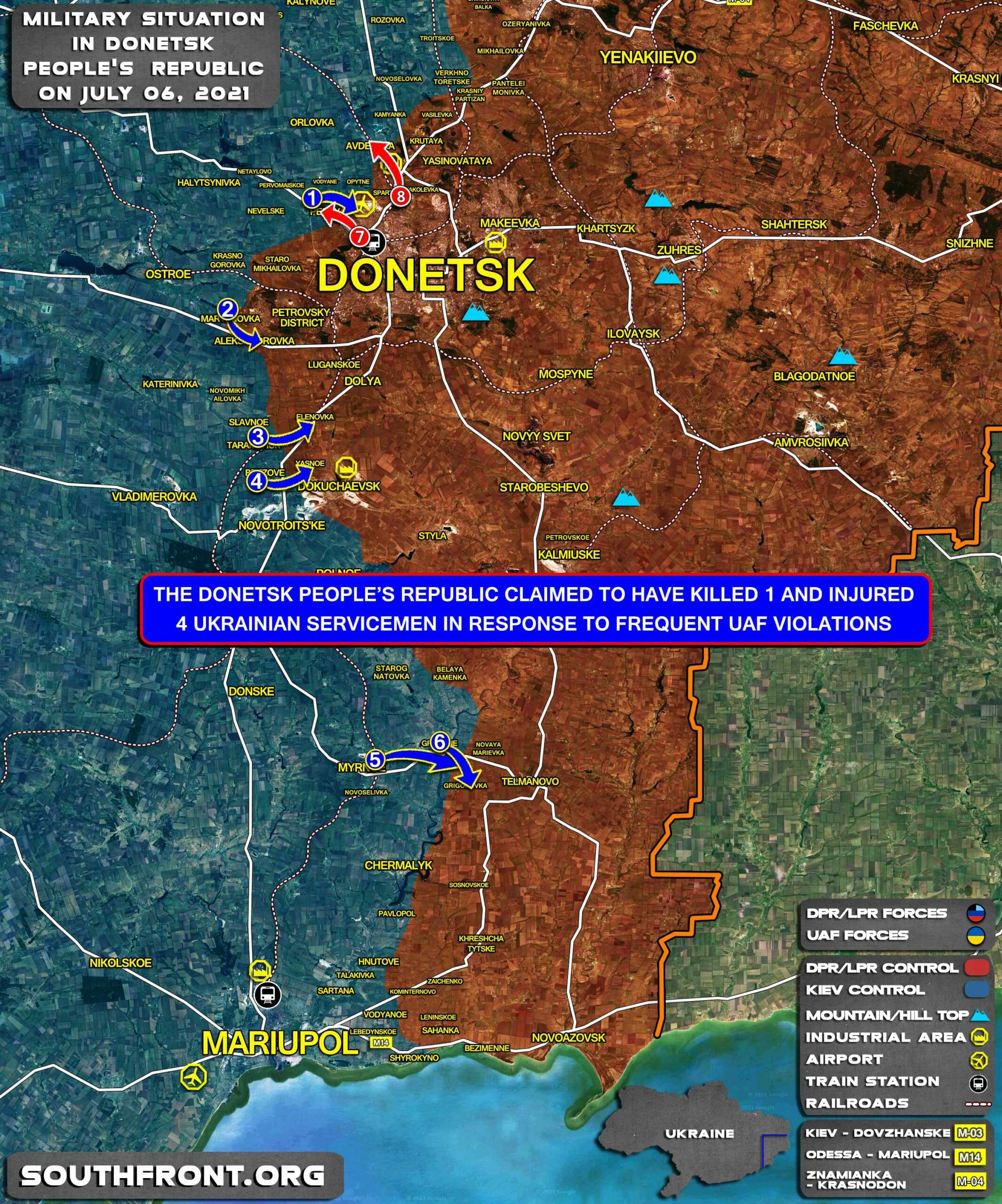 Military Situation In Donetsk People's Republic On July 6, 2021 (Map Update)