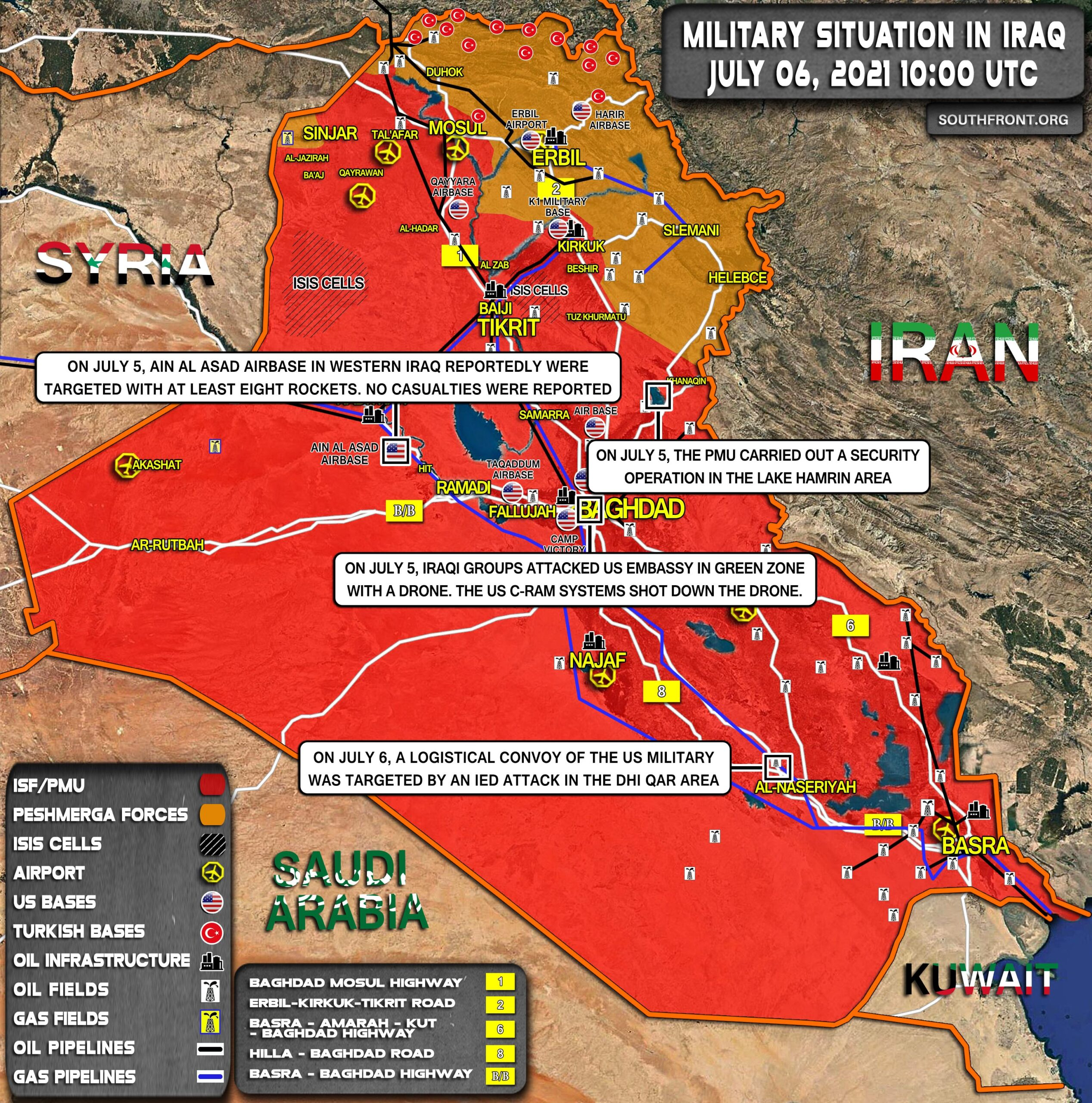 Military Situation In Iraq On July 6, 2021 (Map Update)