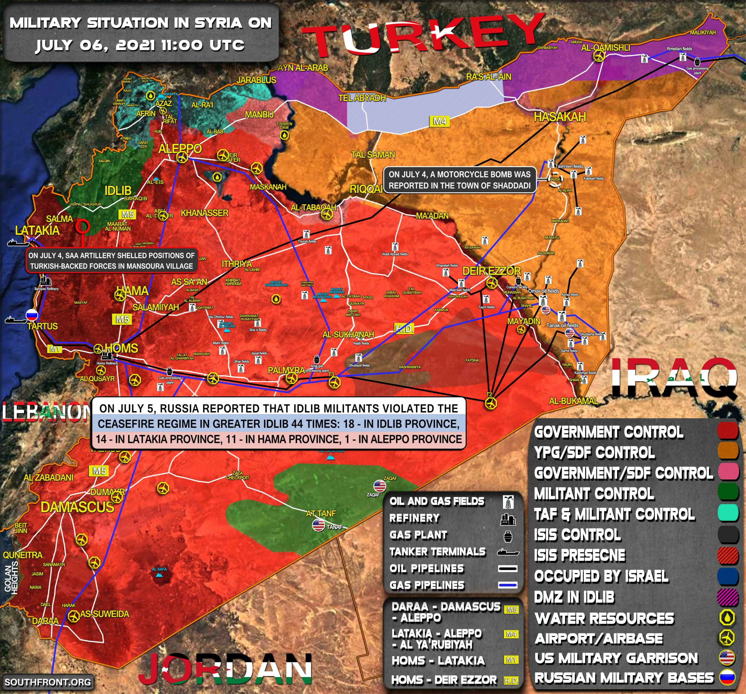 Military Situation In Syria On July 6, 2021 (Map Update)