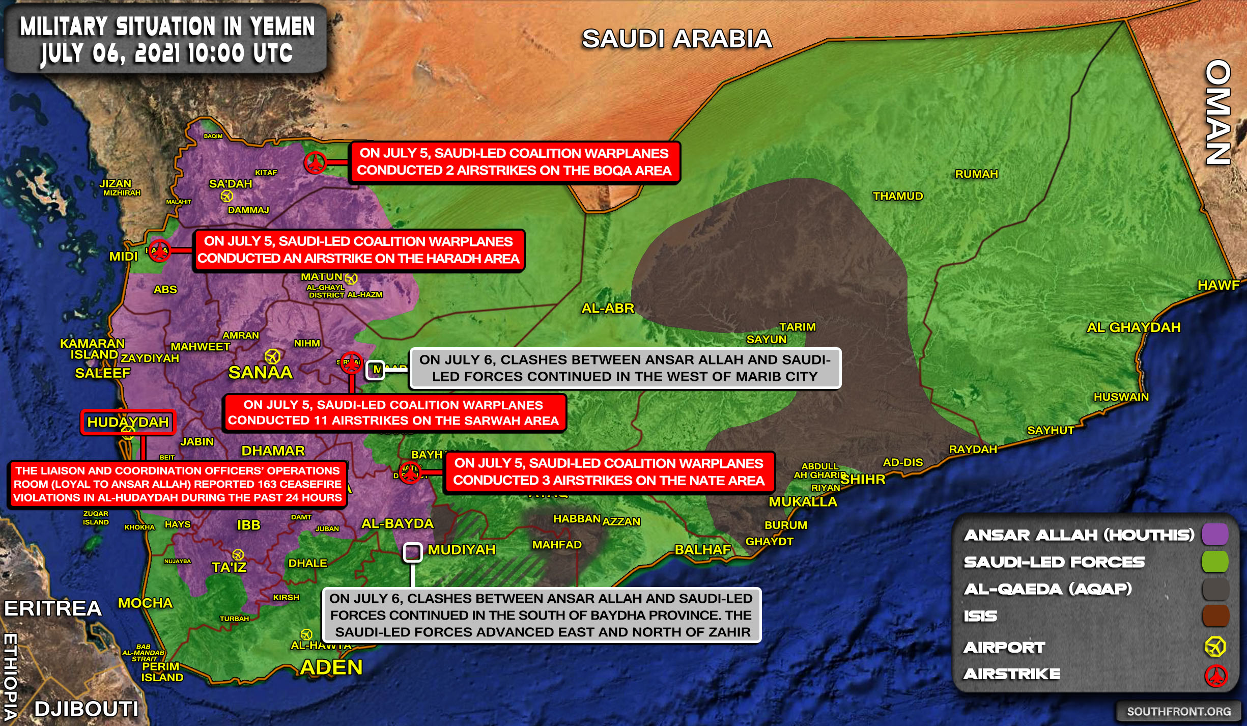 Military Situation In Yemen On July 6, 2021 (Map Update)