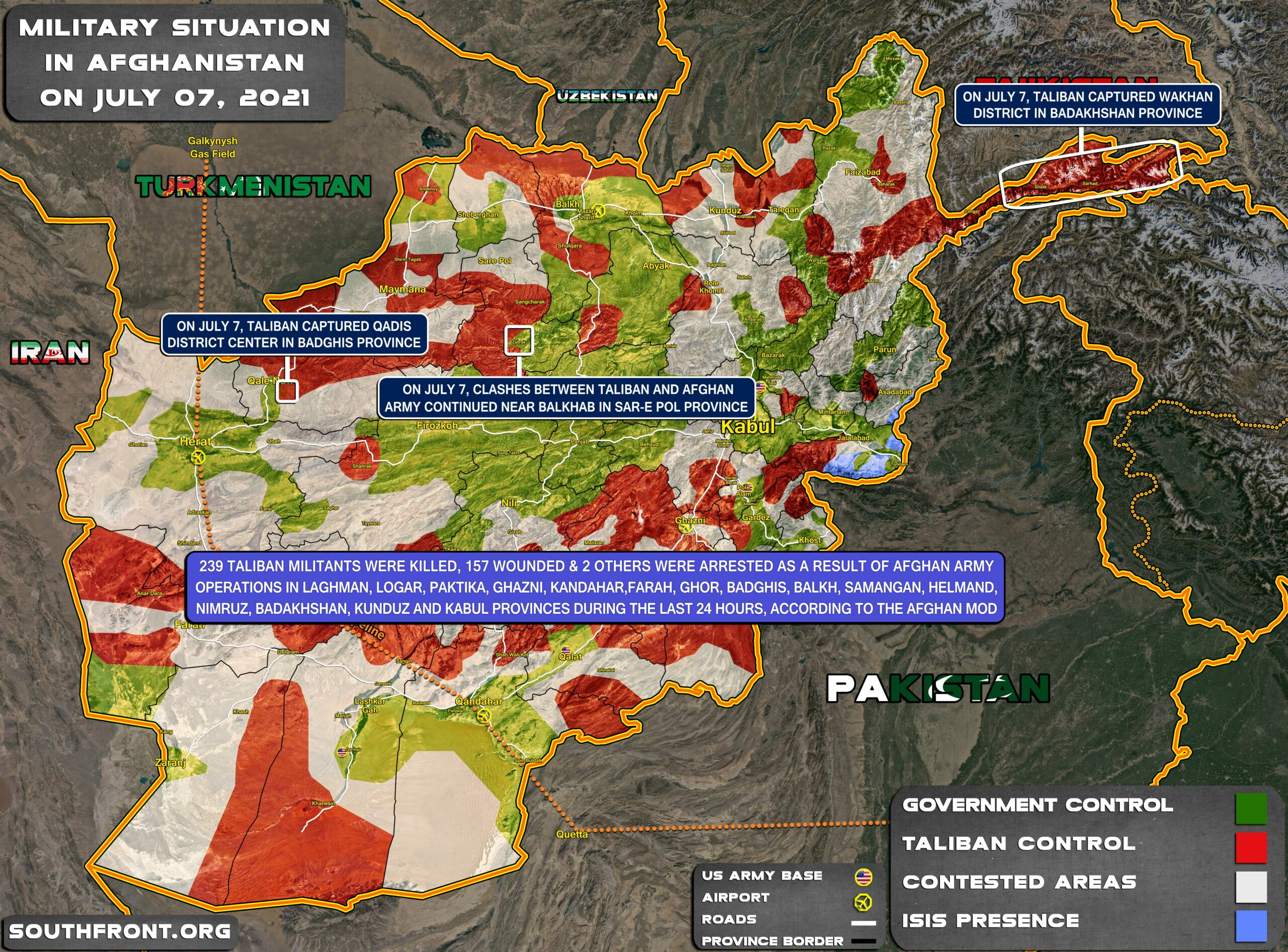 Military Situation In Afghanistan On July 7, 2021 (Map Update)