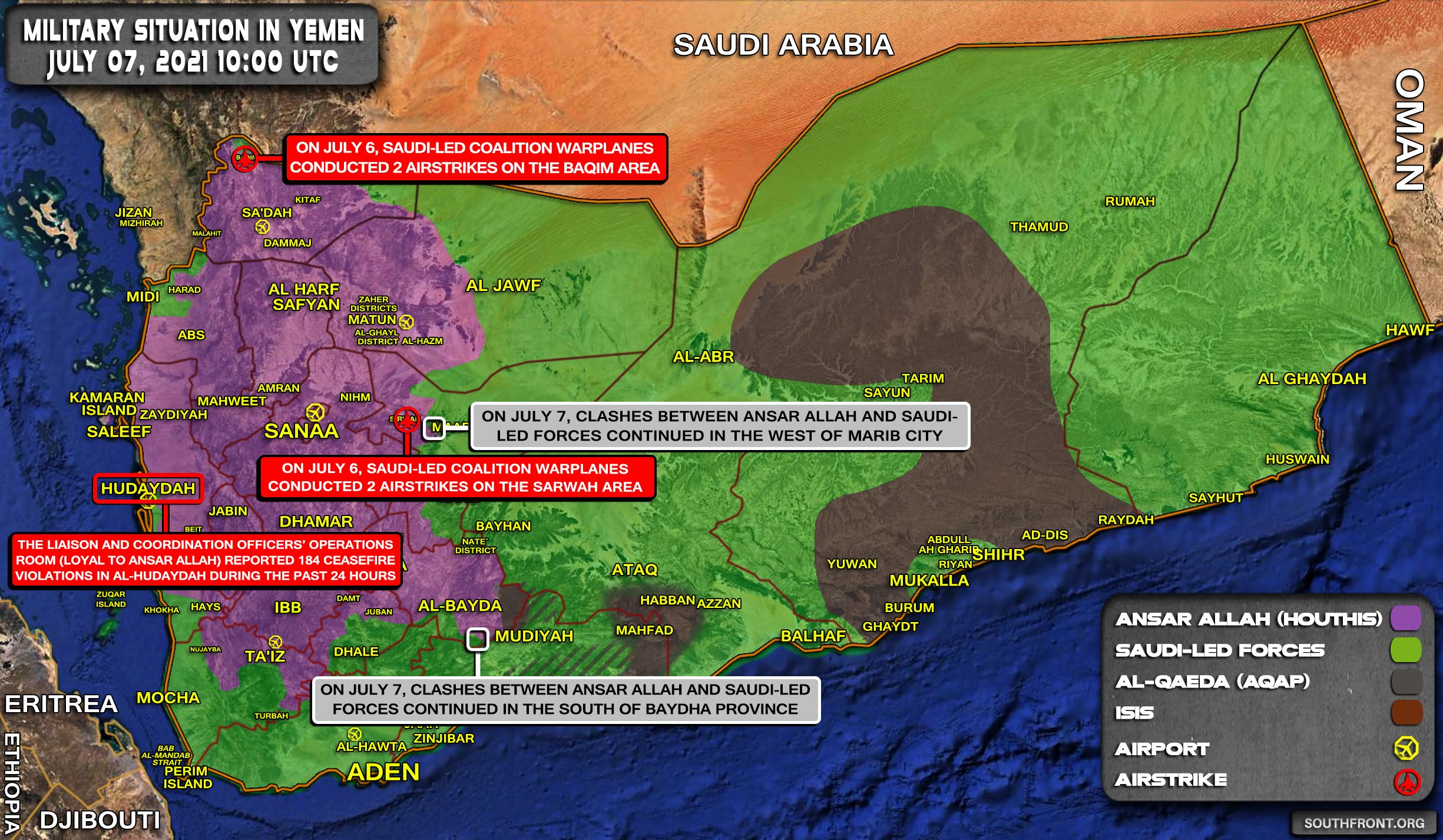 Military Situation In Yemen On July 7, 2021 (Map Update)