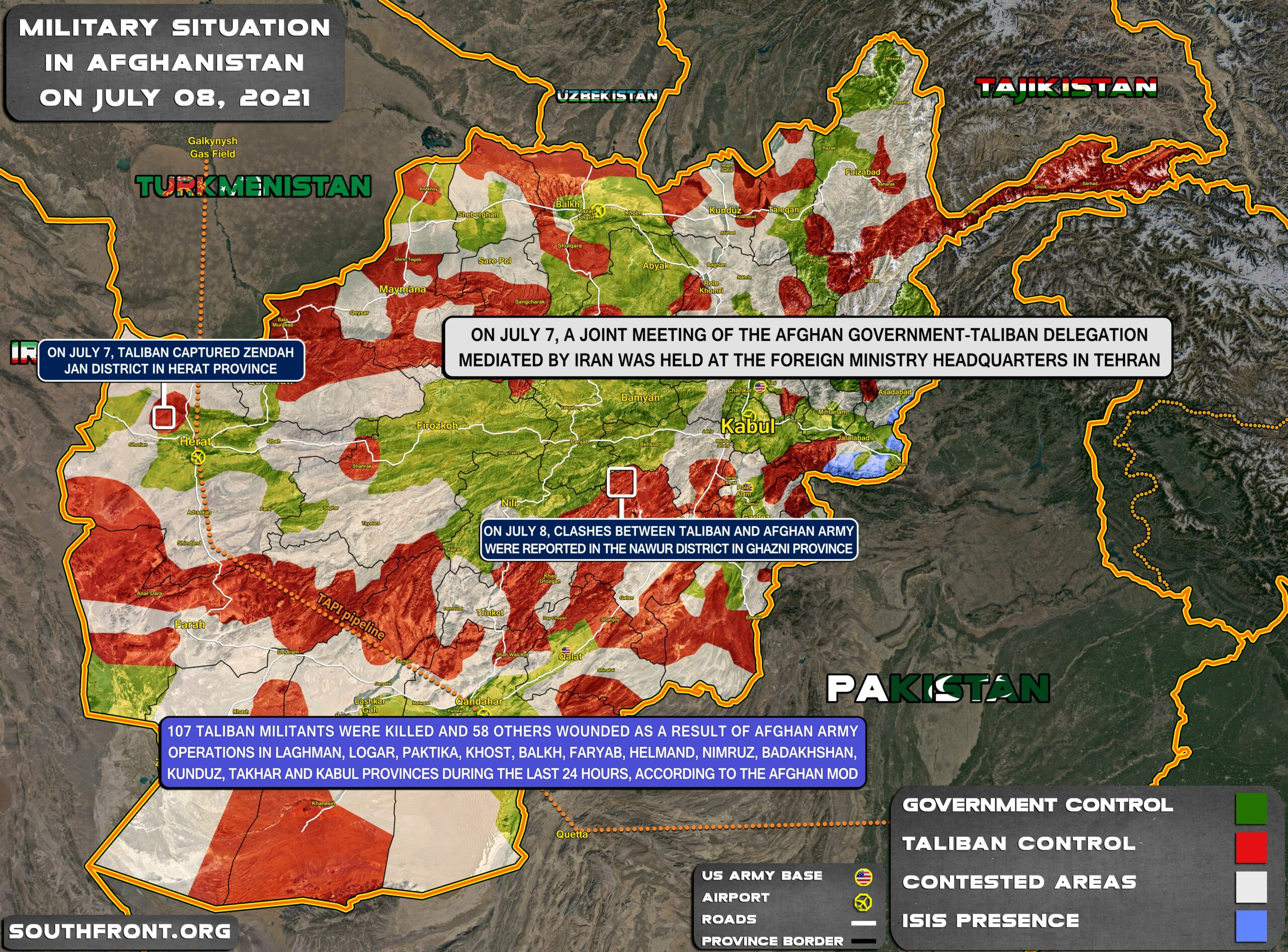 Military Situation In Afghanistan On July 8, 2021 (Map Update)