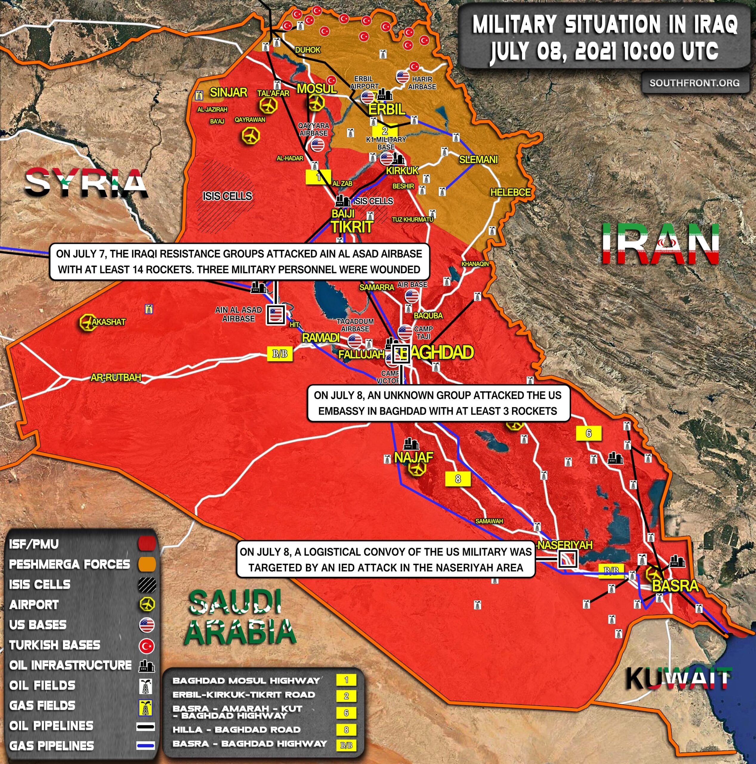 Military Situation In Iraq On July 8, 2021 (Map Update)