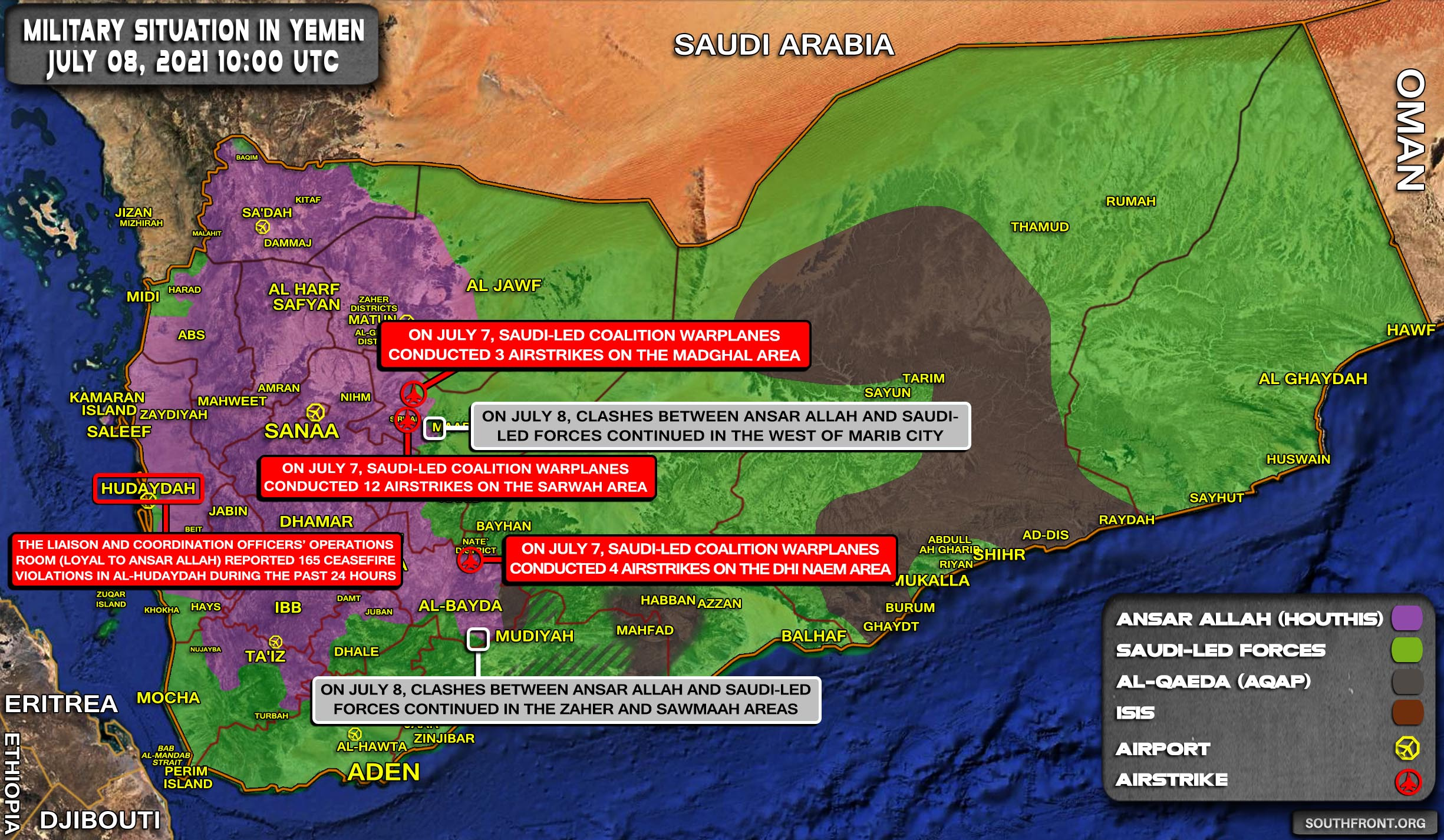 Military Situation In Yemen On July 8, 2021 (Map Update)