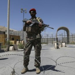 An Afghan National Army (ANA) soldier stands guard at Bagram Air Base, after the departure of all U.S. and NATO troops. ZAKERIA HASHIMI/Getty Images